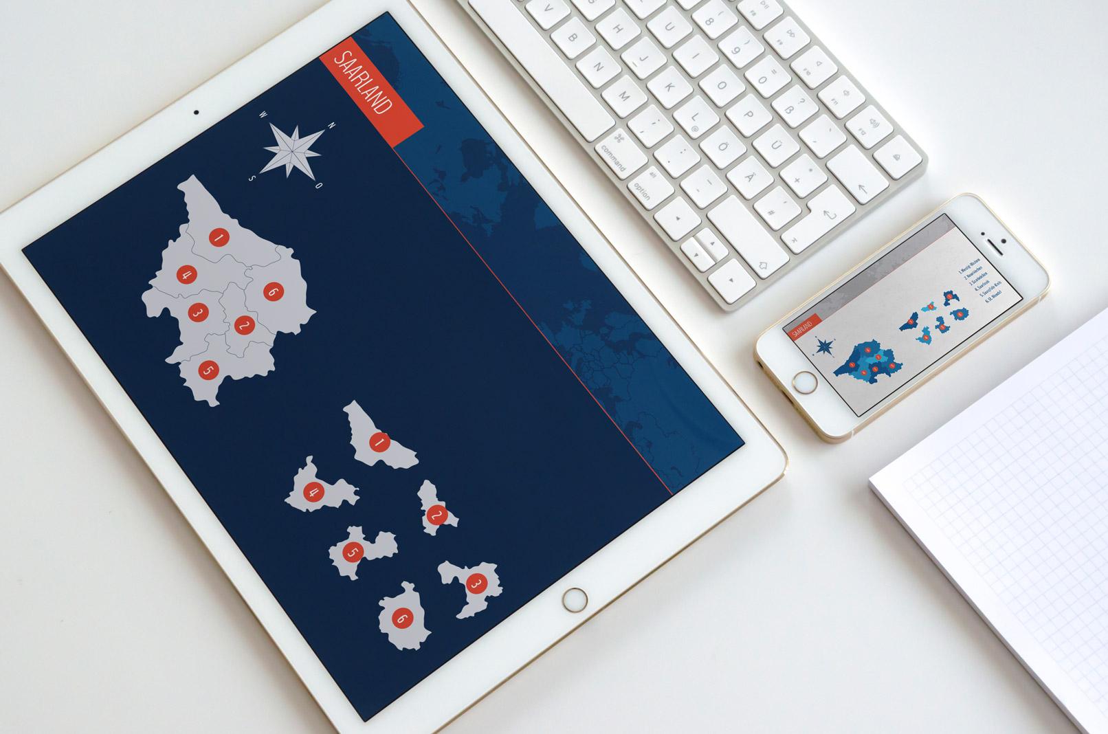 Tablet mit der Landkarte des Saarlands