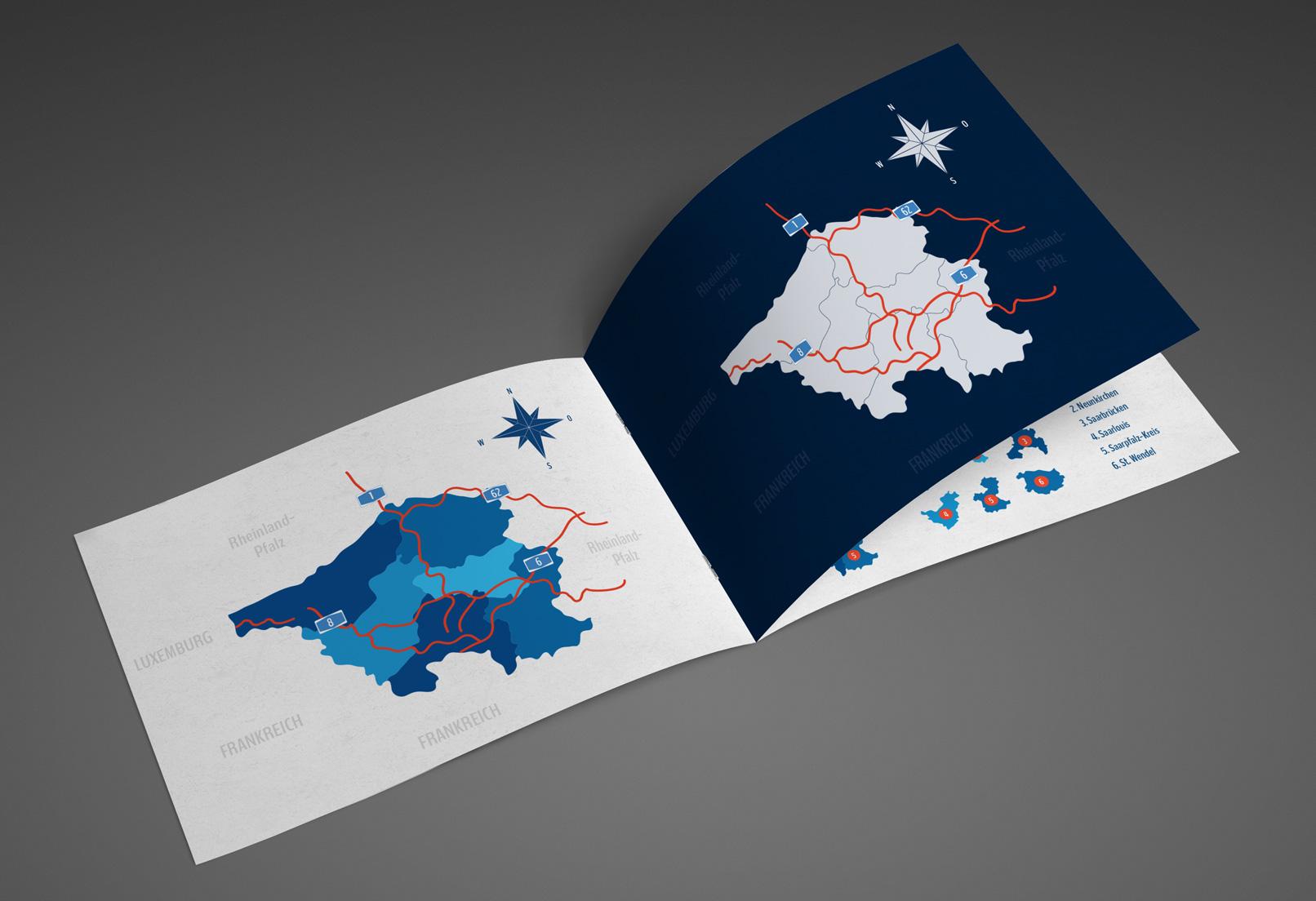Broschüre mit der Landkarte des Saarlands
