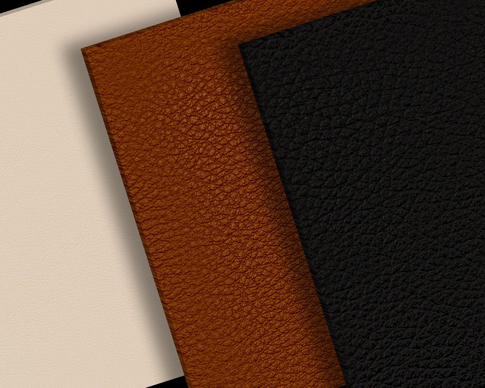 Leder-Texturen in verschiedenen Farben und mit unterschiedlicher Struktur