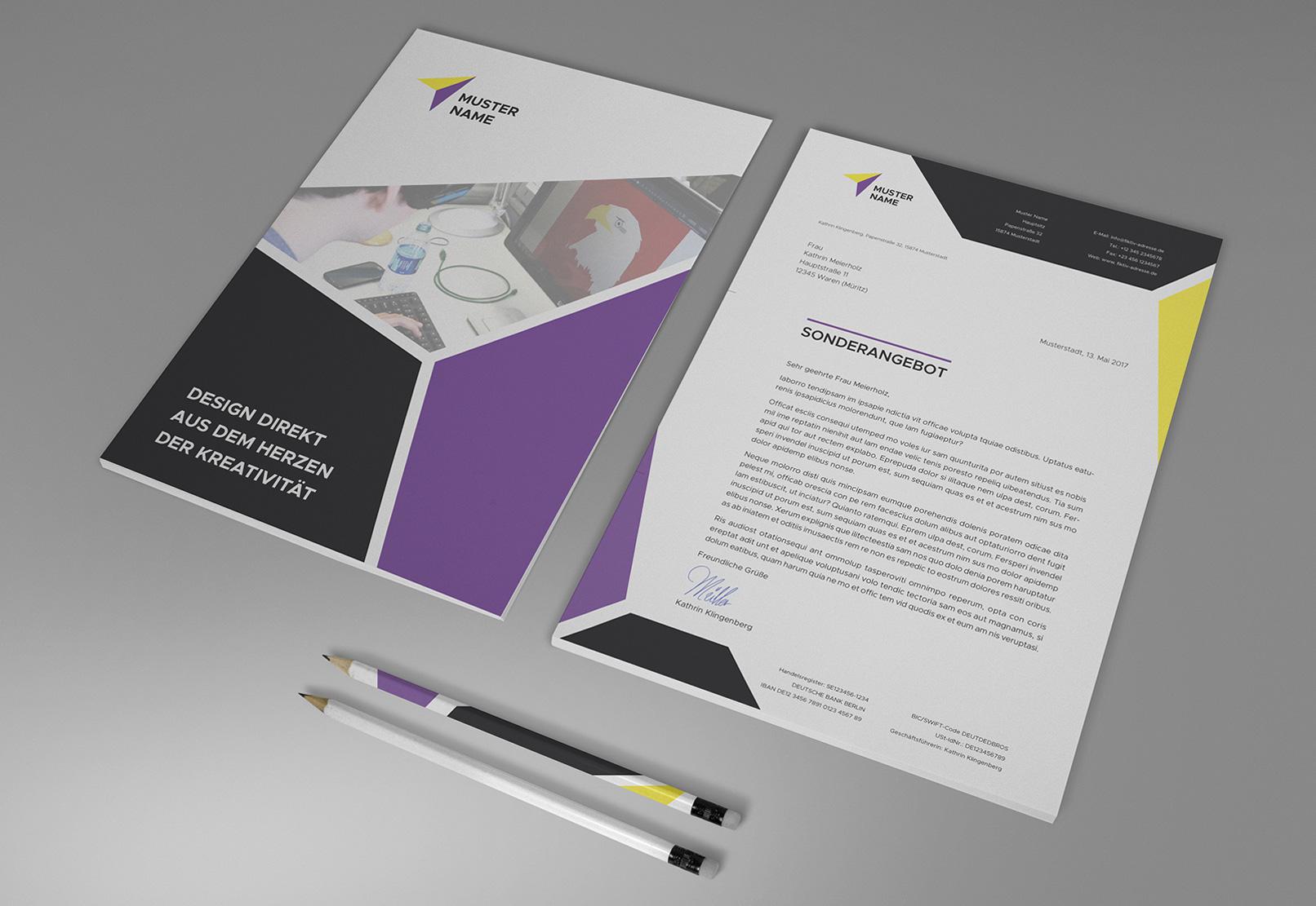 Modernes Briefpapier-Design, Vorder- und Rückseite