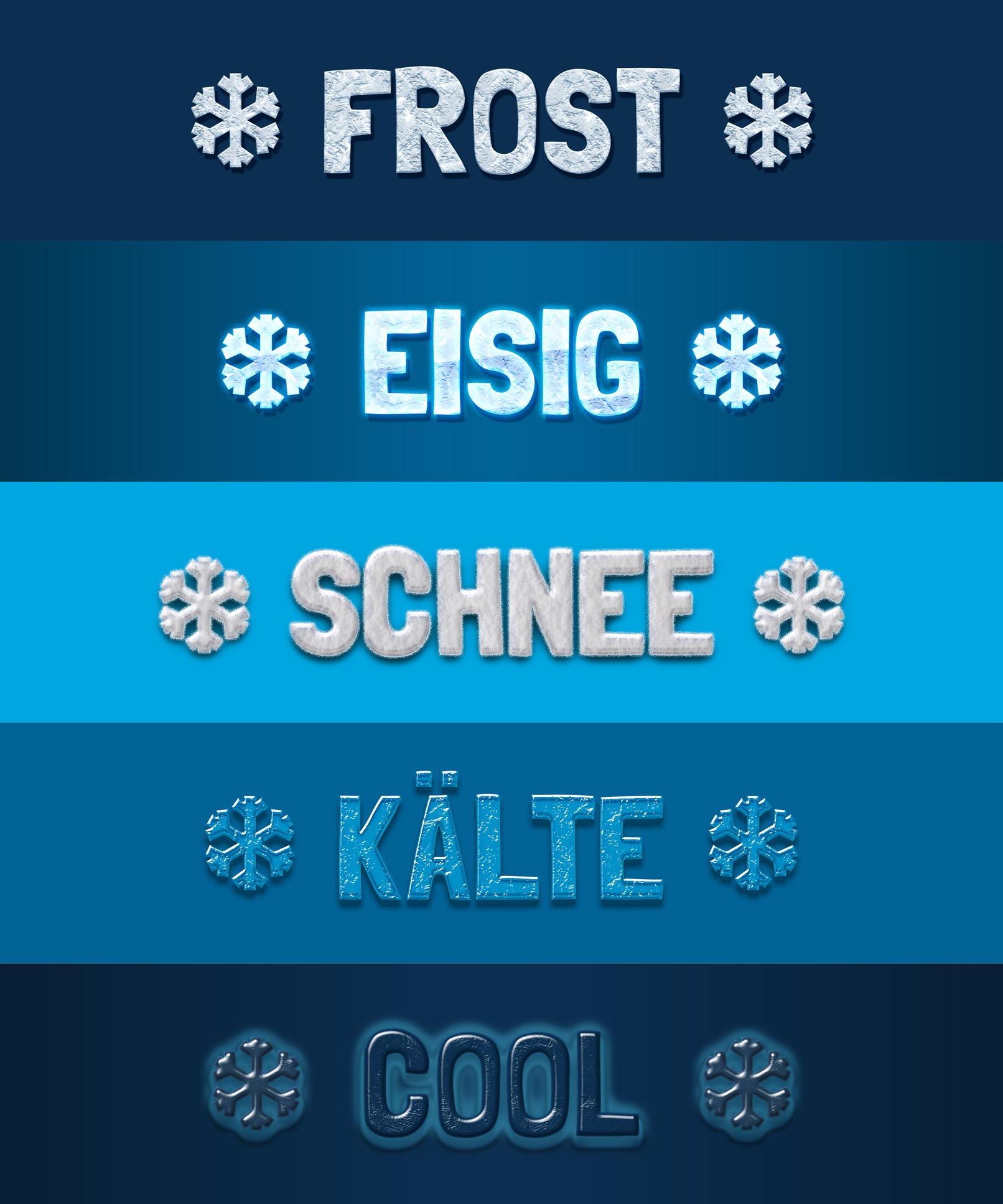 Schriftzüge und Grafiken mit Eis- und Frost-Styles