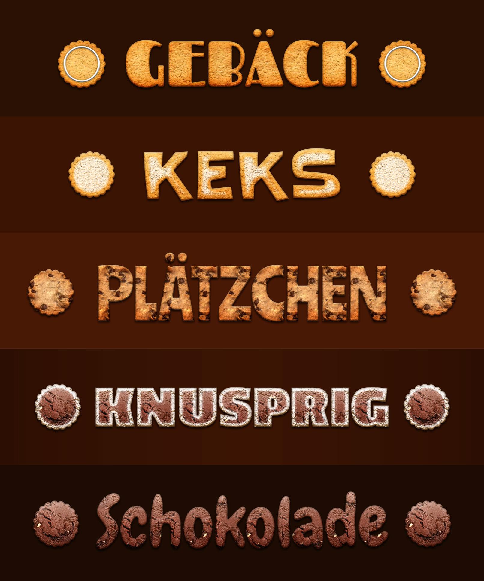 Schriftzüge und Grafiken mit Keks- und Cookie-Styles