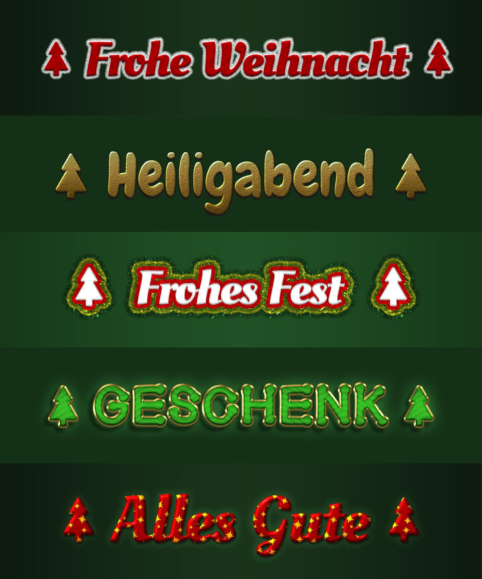 Schriftzüge und Grafiken mit festlichen Weihnachtsstyles