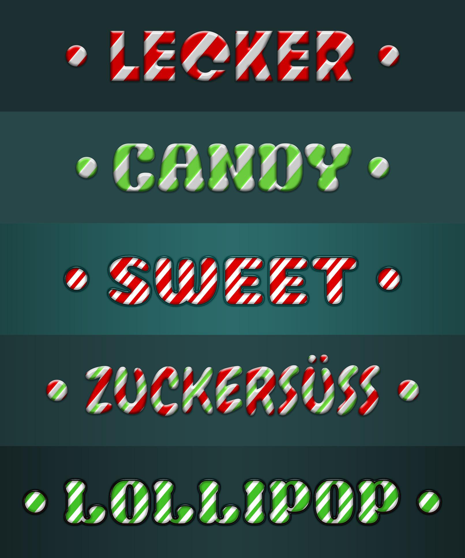 Schriftzüge und Grafiken mit süßen Candy-Styles