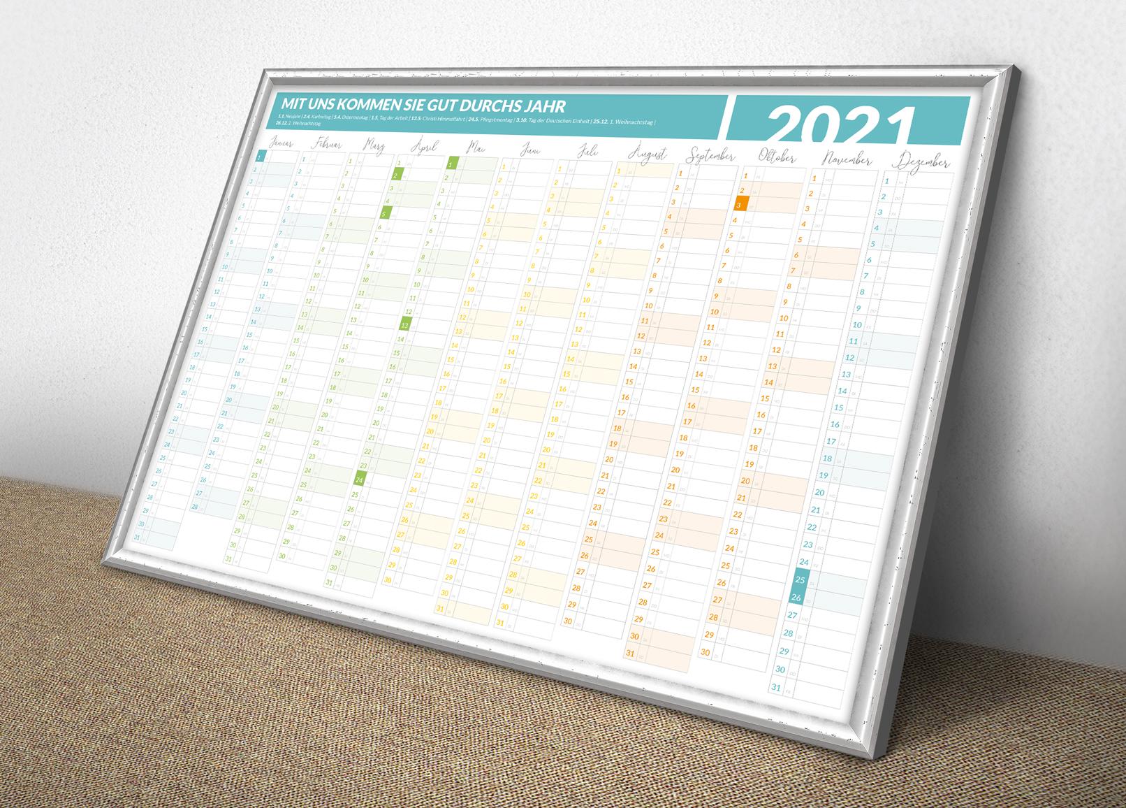 Jahreskalender 2020 als Jahresplaner