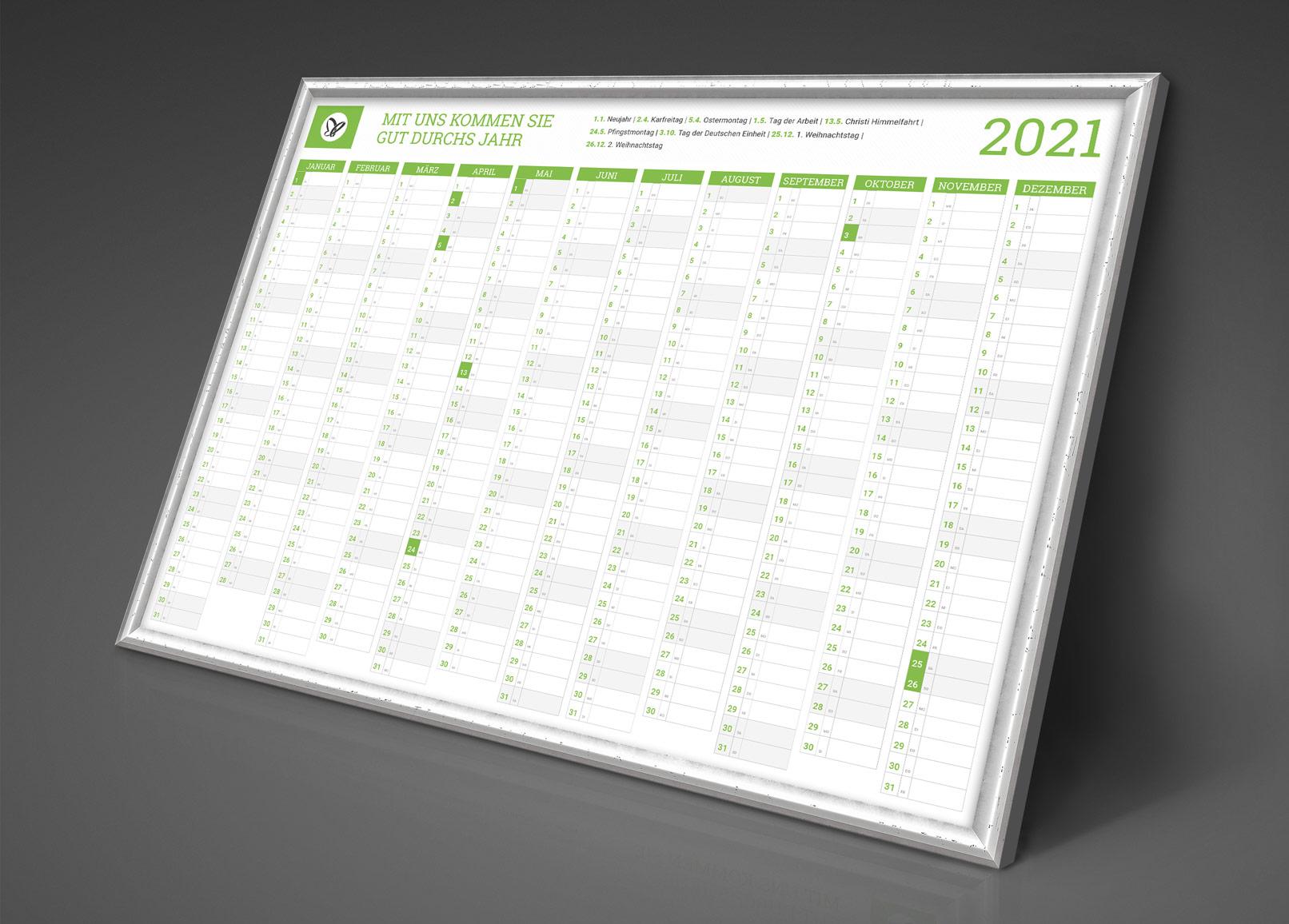 Personalisierter Business-Kalender 2021, Jahresplaner im A1-Format