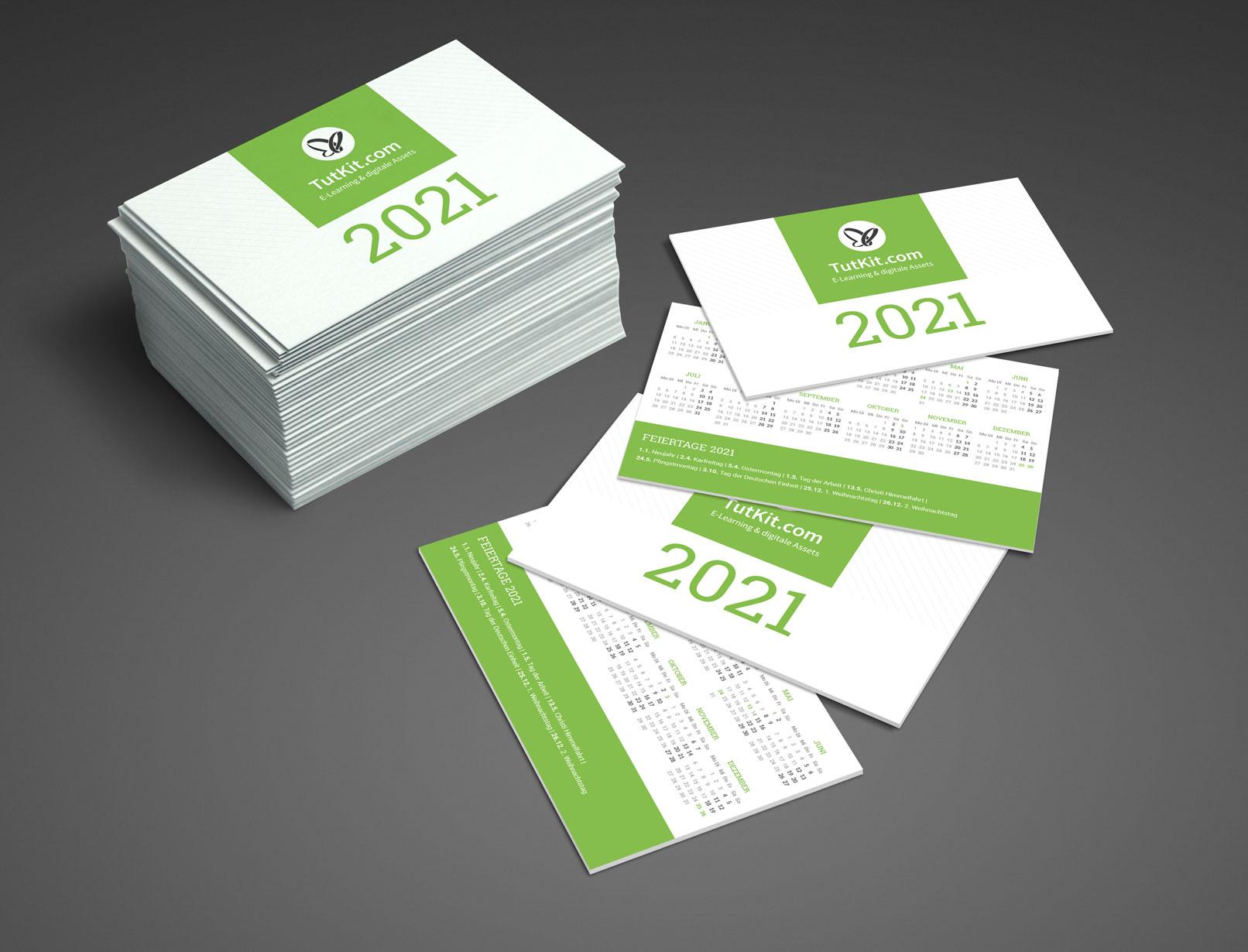 Personalisierter Business-Kalender 2021, Taschenkalender im Visitenkartenformat
