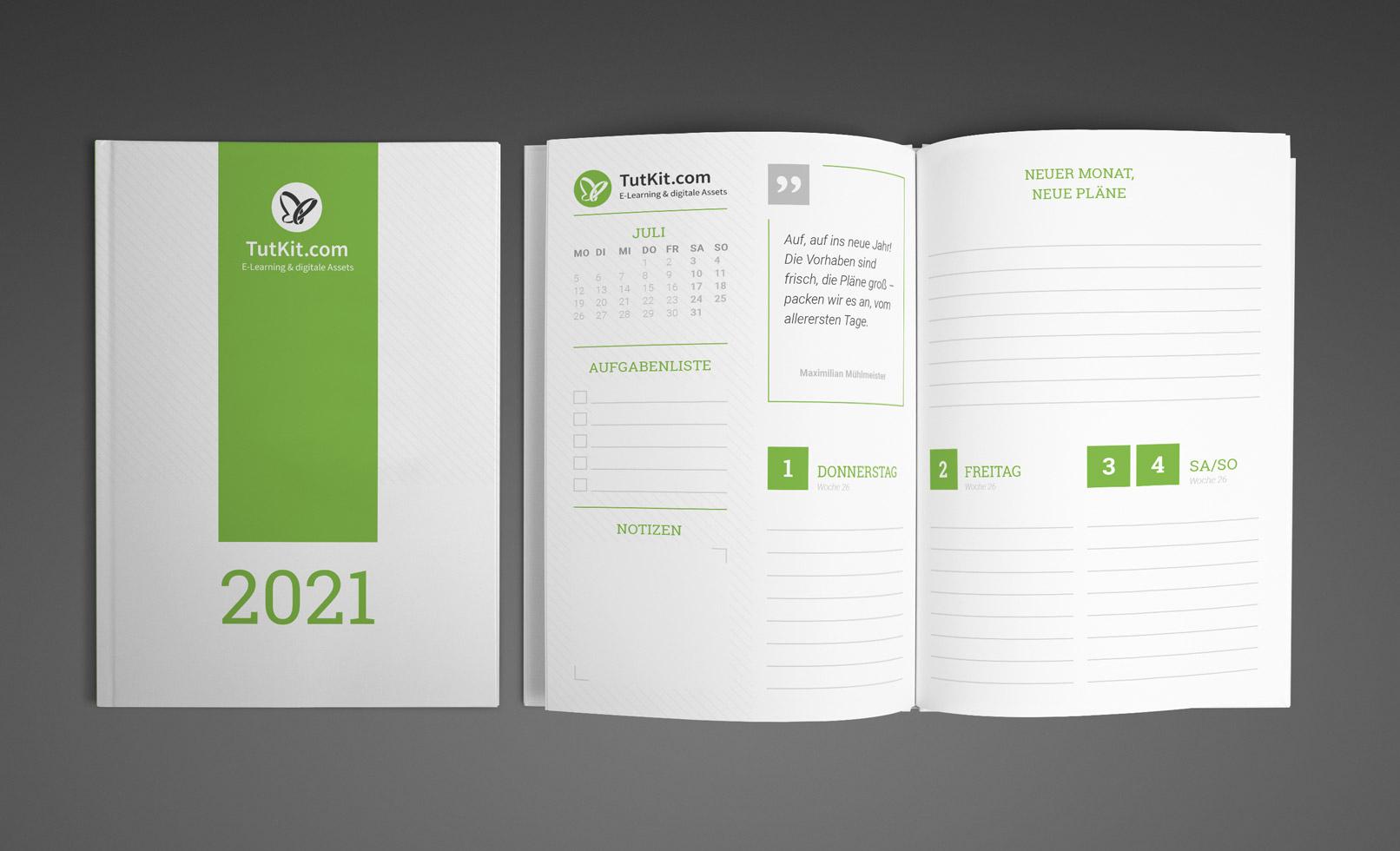 Personalisierter Business-Kalender 2021, Buchkalender im A5-Format