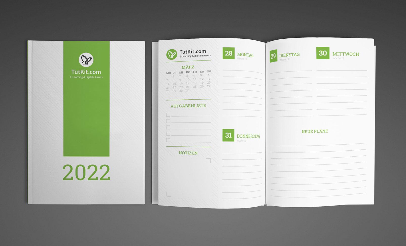 Personalisierter Business-Kalender 2022, Buchkalender im A5-Format