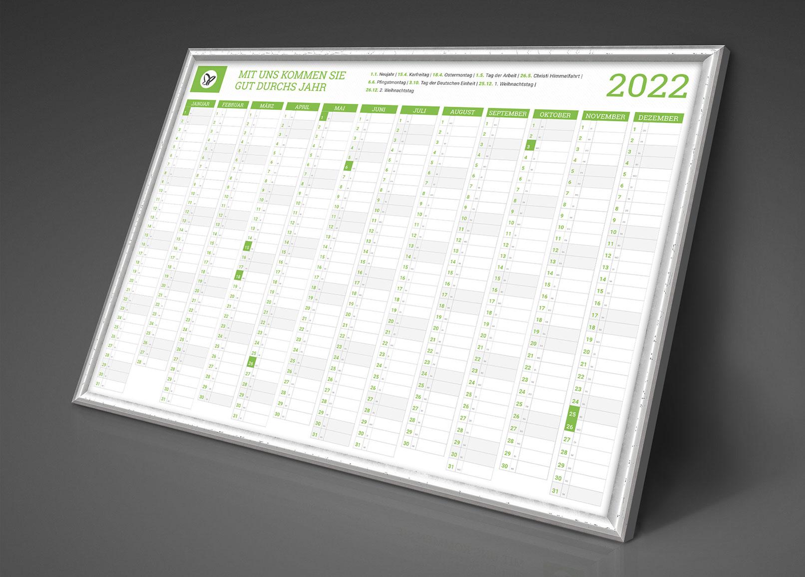 Personalisierter Business-Kalender 2022, Jahresplaner im A1-Format