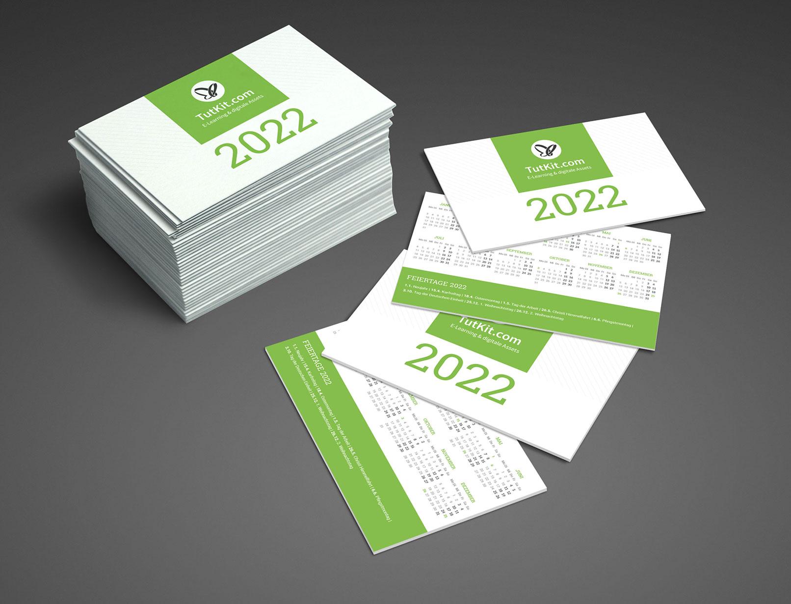 Personalisierter Business-Kalender 2022, Taschenkalender im Visitenkartenformat
