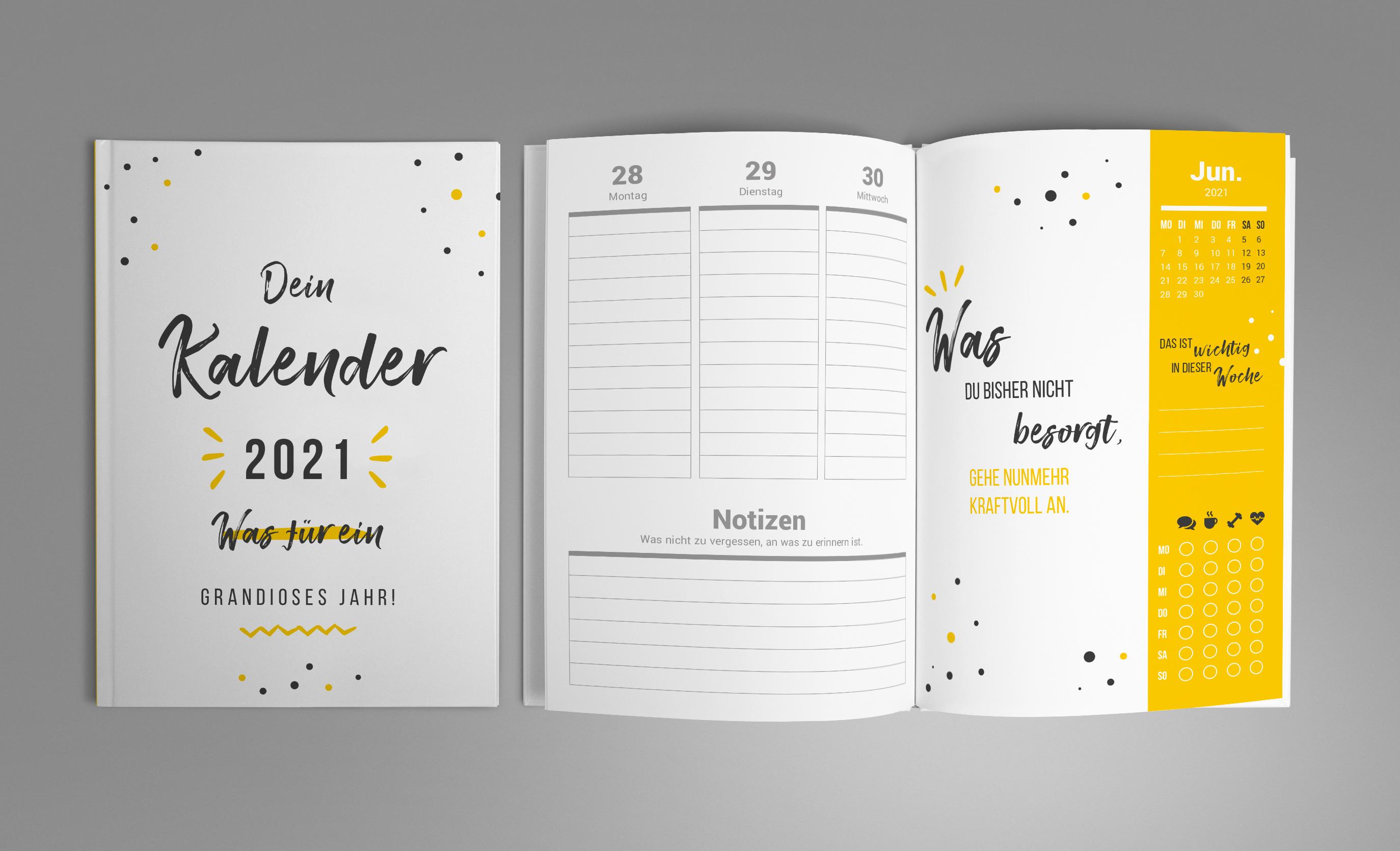 Kalender-Vorlage 2021, Buchkalender A5
