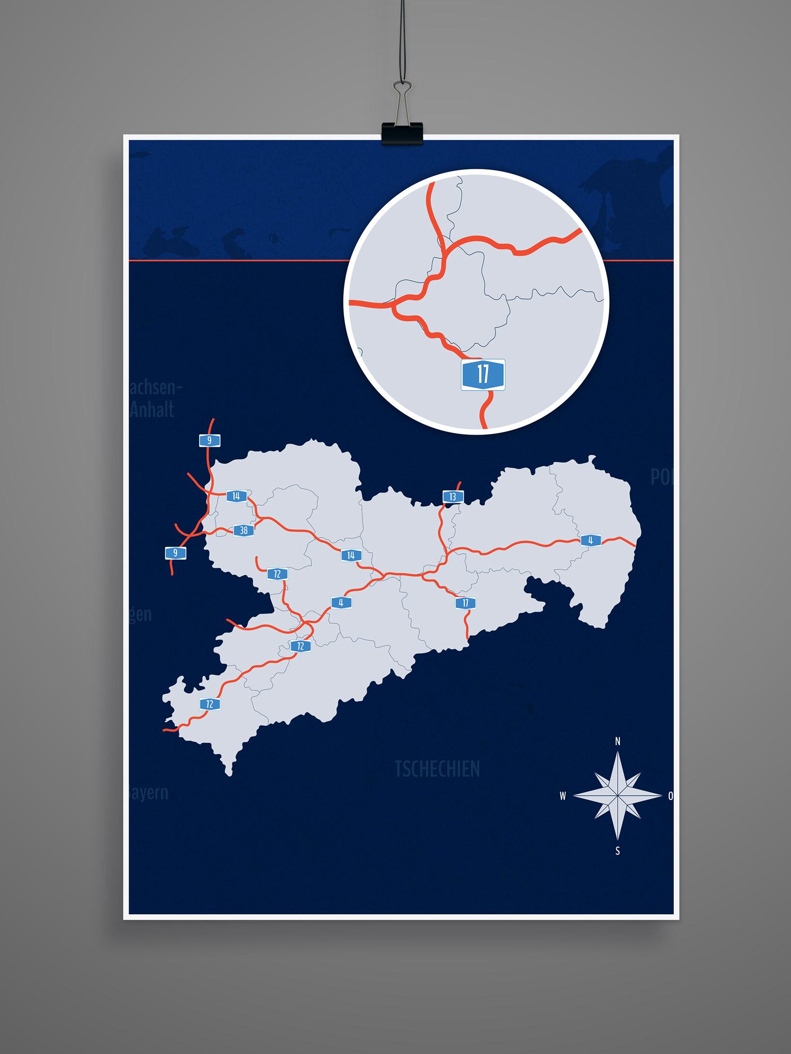 Landkarte Sachsen mit allen Landkreisen, inklusive Autobahnen