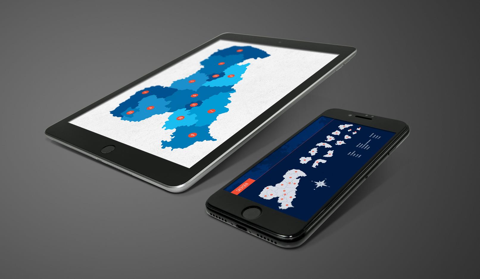 Tablet mit der Landkarte von Sachsen