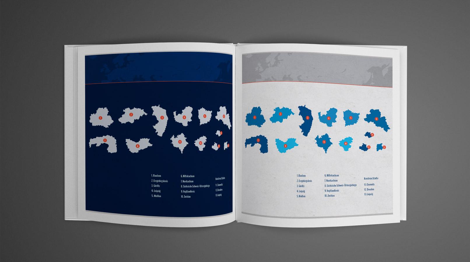 Broschüre mit der Landkarte von Sachsen