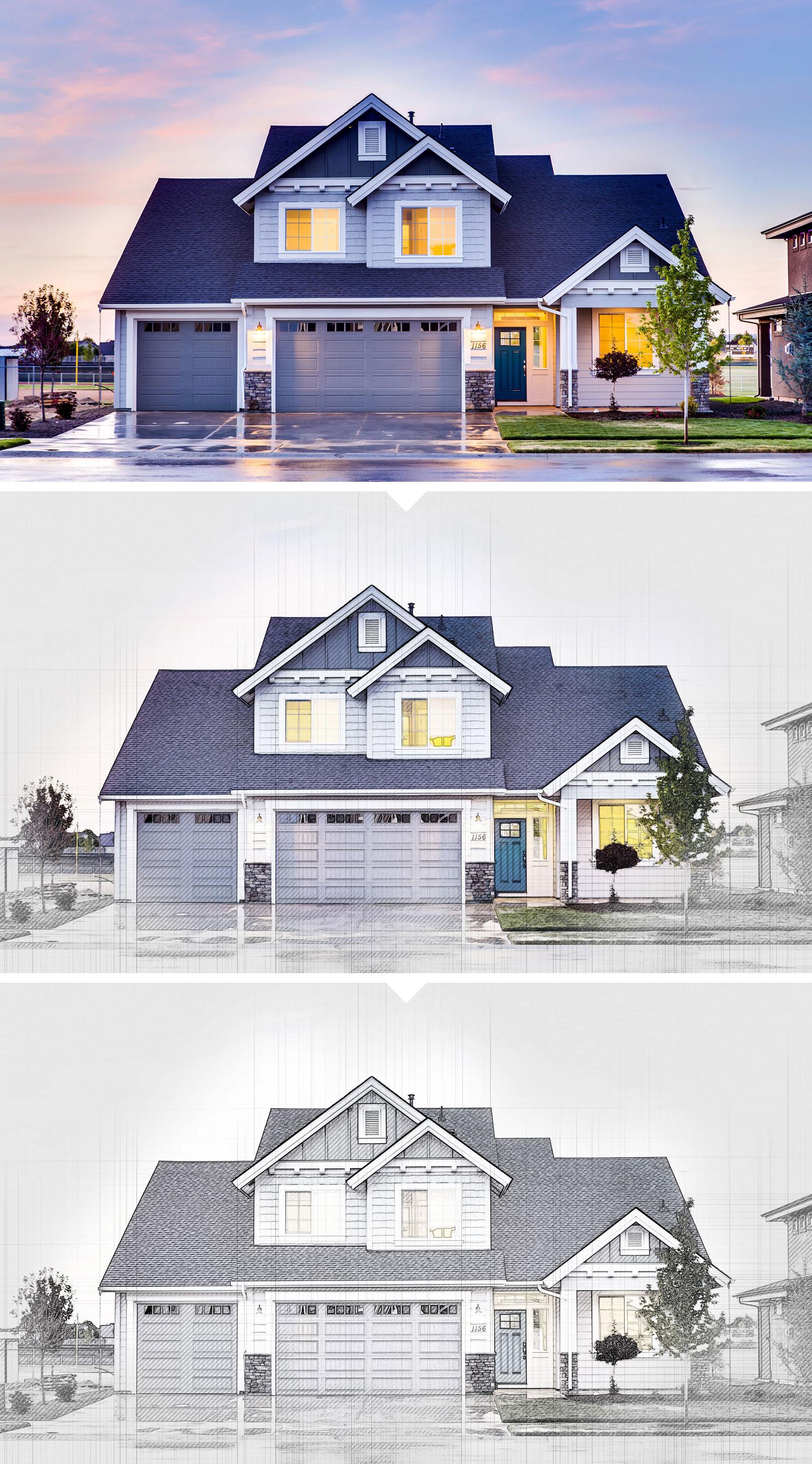 Beispiel zur Photoshop-Aktion Architektur - Gebäude im Skizzen-Look