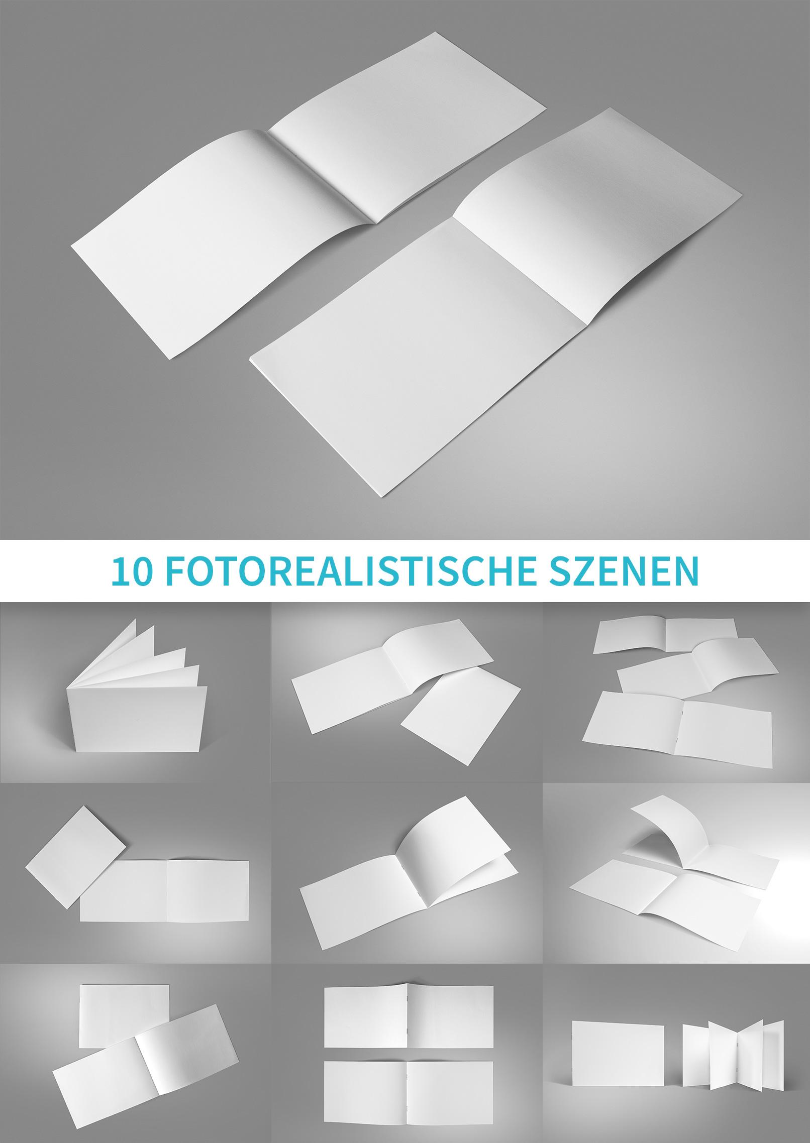 Mockups für Broschüren im A5-Querformat