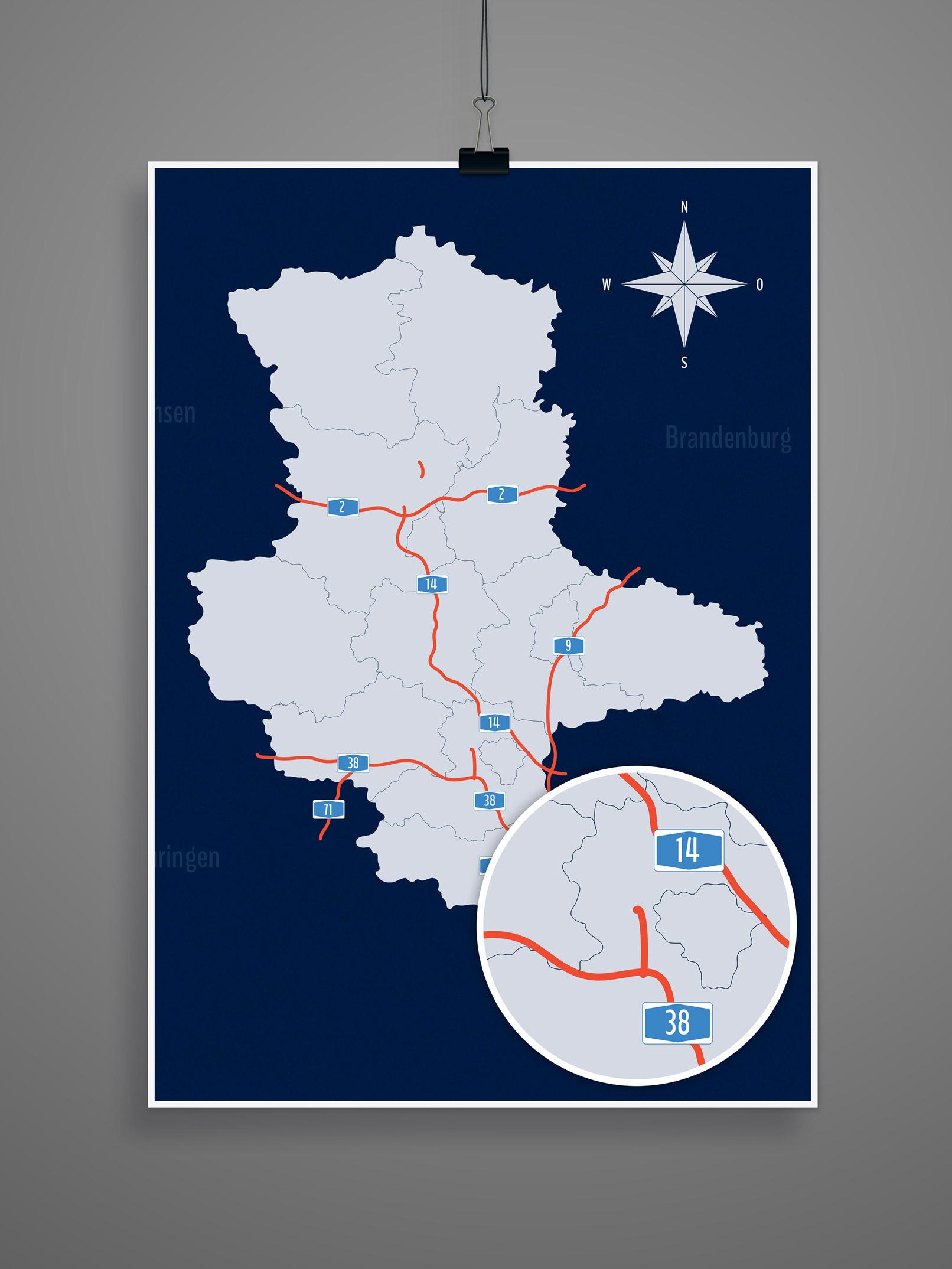 Landkarte Sachsen-Anhalt mit allen Landkreisen, inklusive Autobahnen