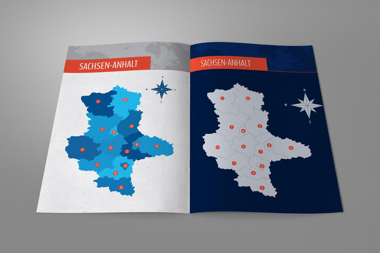 Broschüre mit der Landkarte von Sachsen-Anhalt