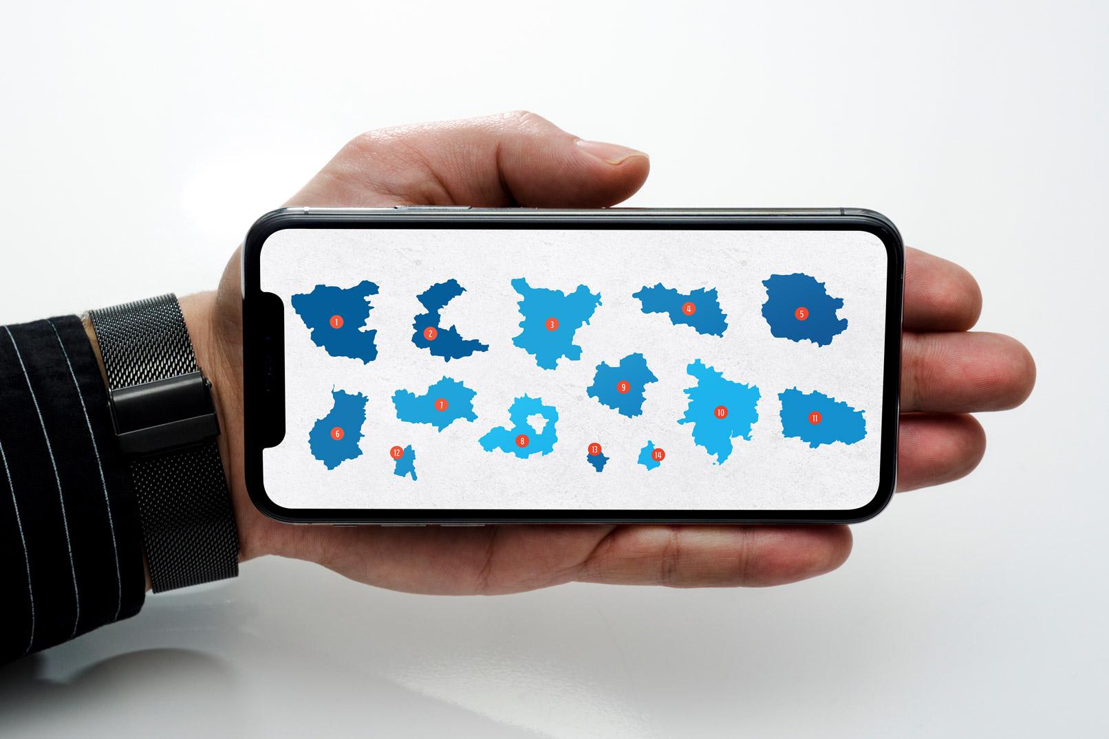 Smartphone mit der Landkarte von Sachsen-Anhalt