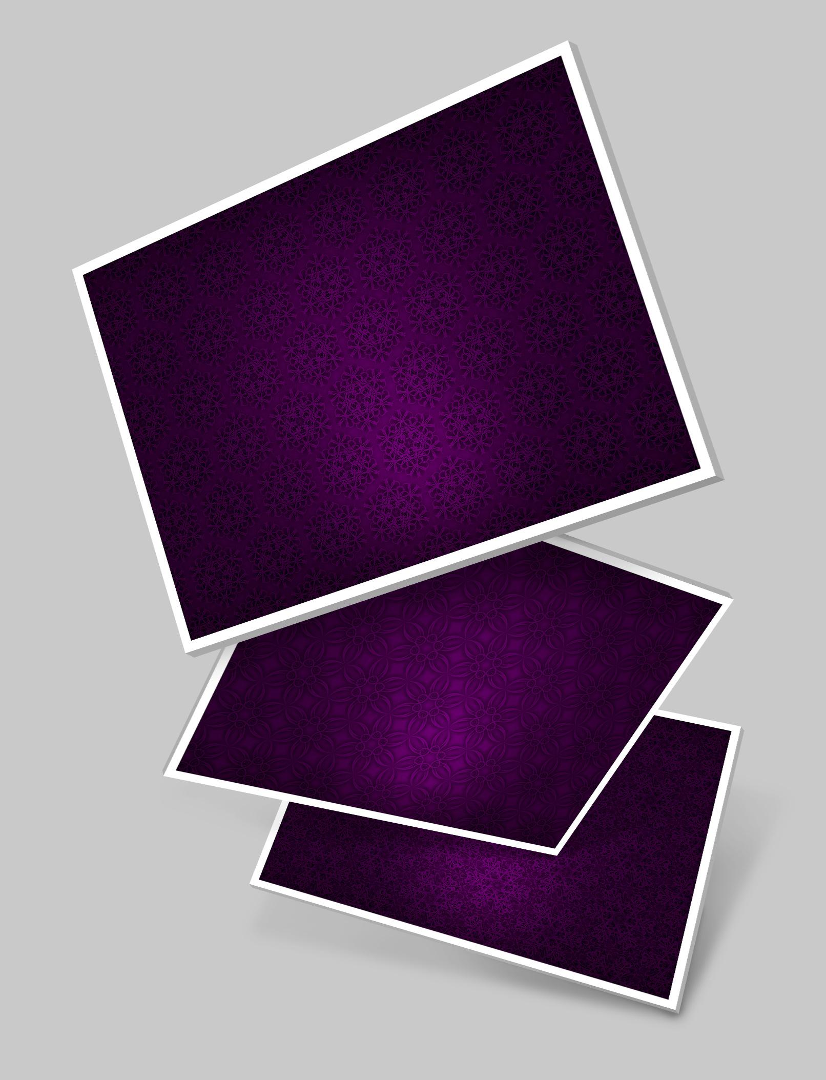 Drei Varianten mit Hintergrundbildern in Lila