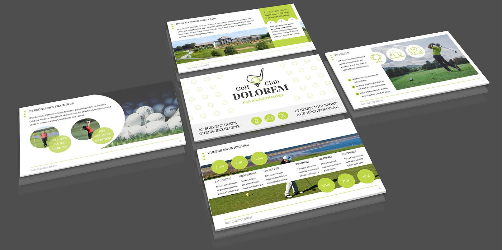 Layout-Vorlagen für PowerPoint: Golf, Sport