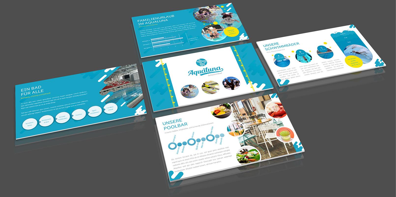 Layout-Vorlagen für PowerPoint: Schwimmbad, Wellness