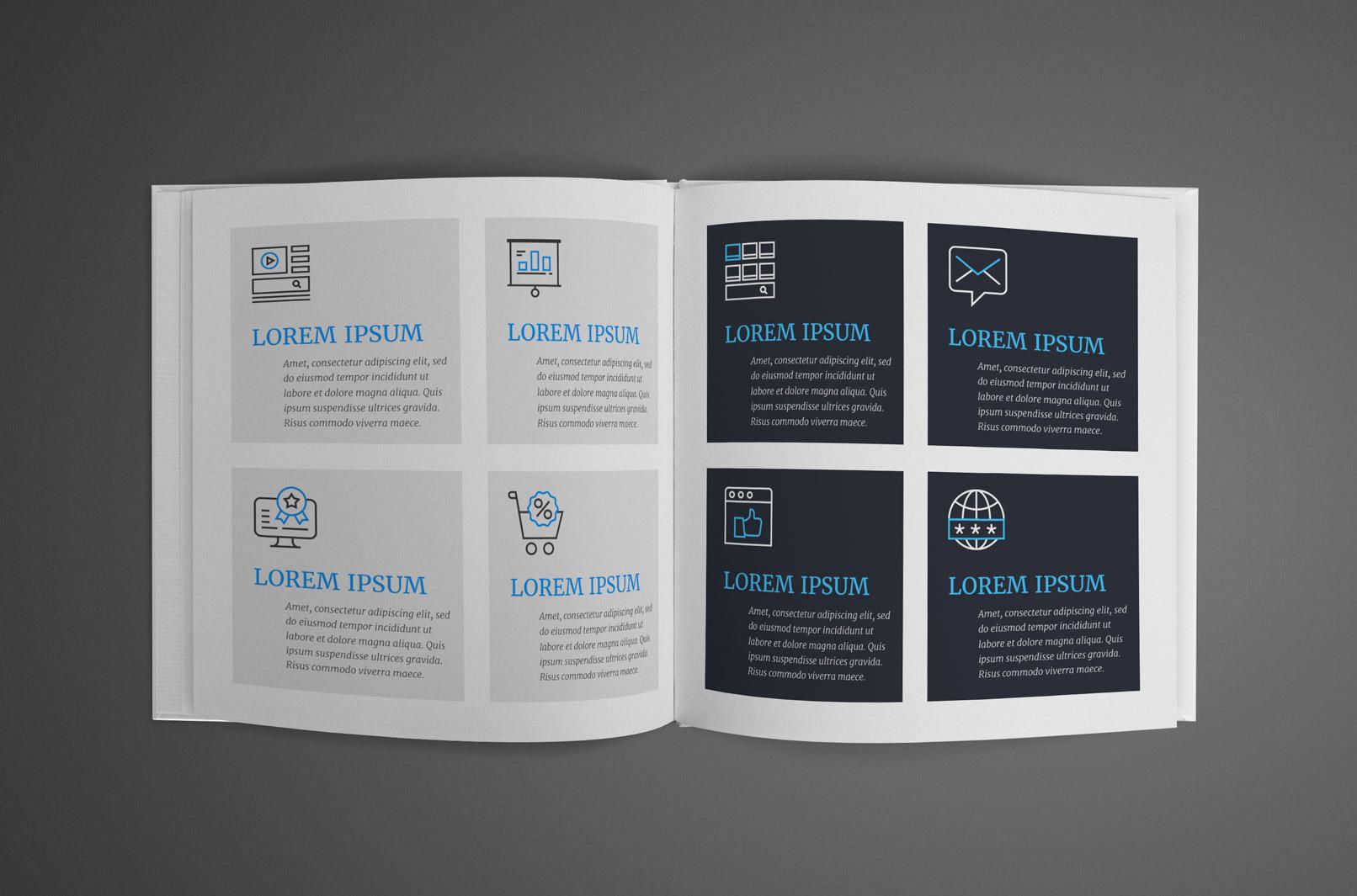 Web-Icons in einer Broschüre