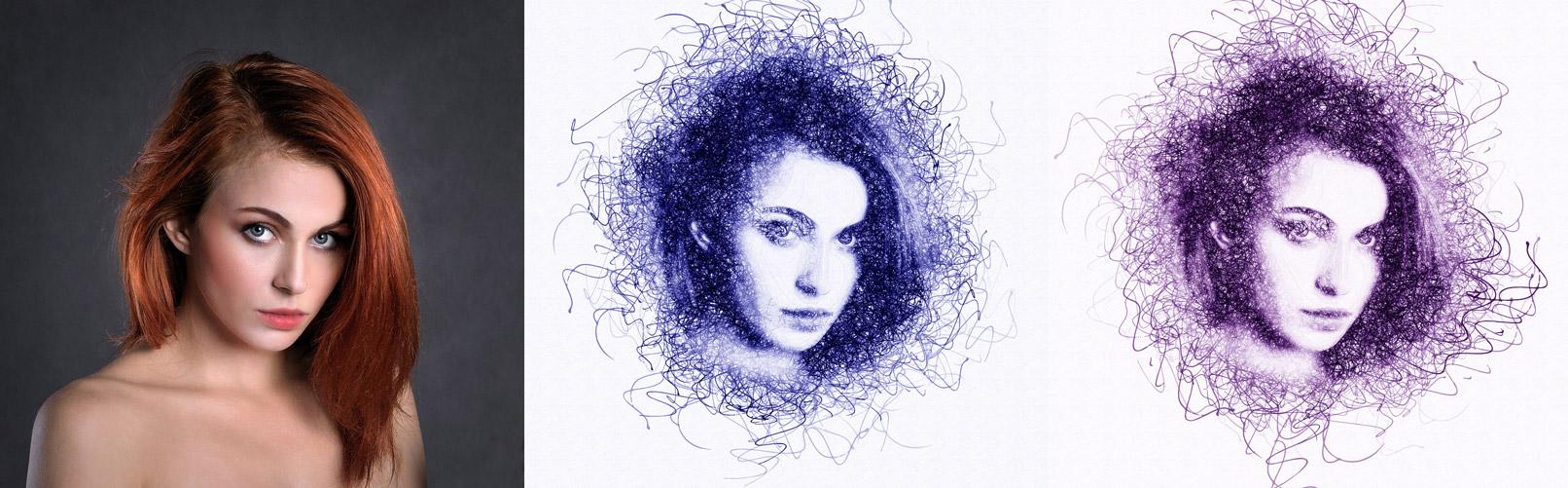 Porträt einer Frau im Sketch-Look, erstellt mit Photoshop-Aktion