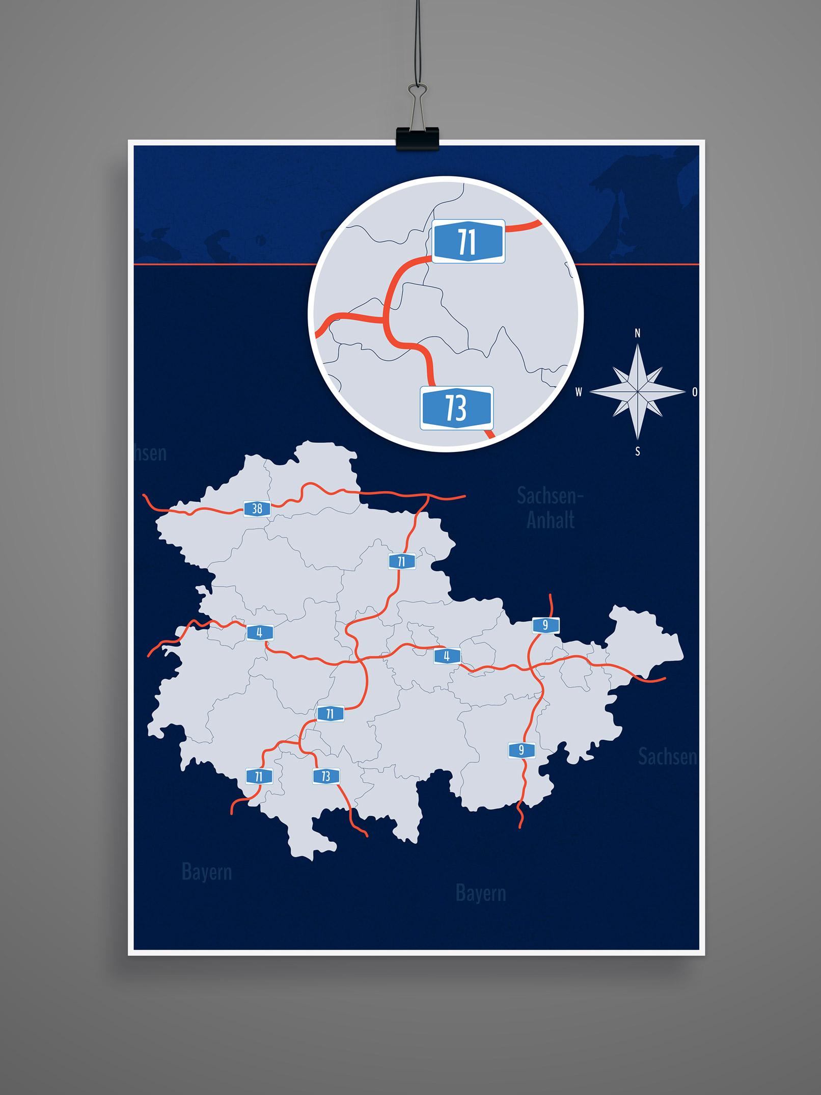Landkarte Thüringen mit allen Landkreisen, inklusive Autobahnen