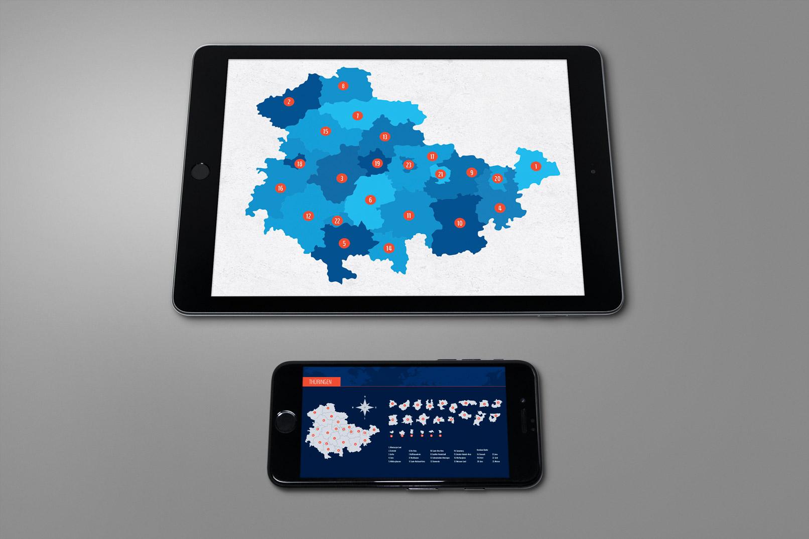 Tablet mit der Landkarte von Thüringen