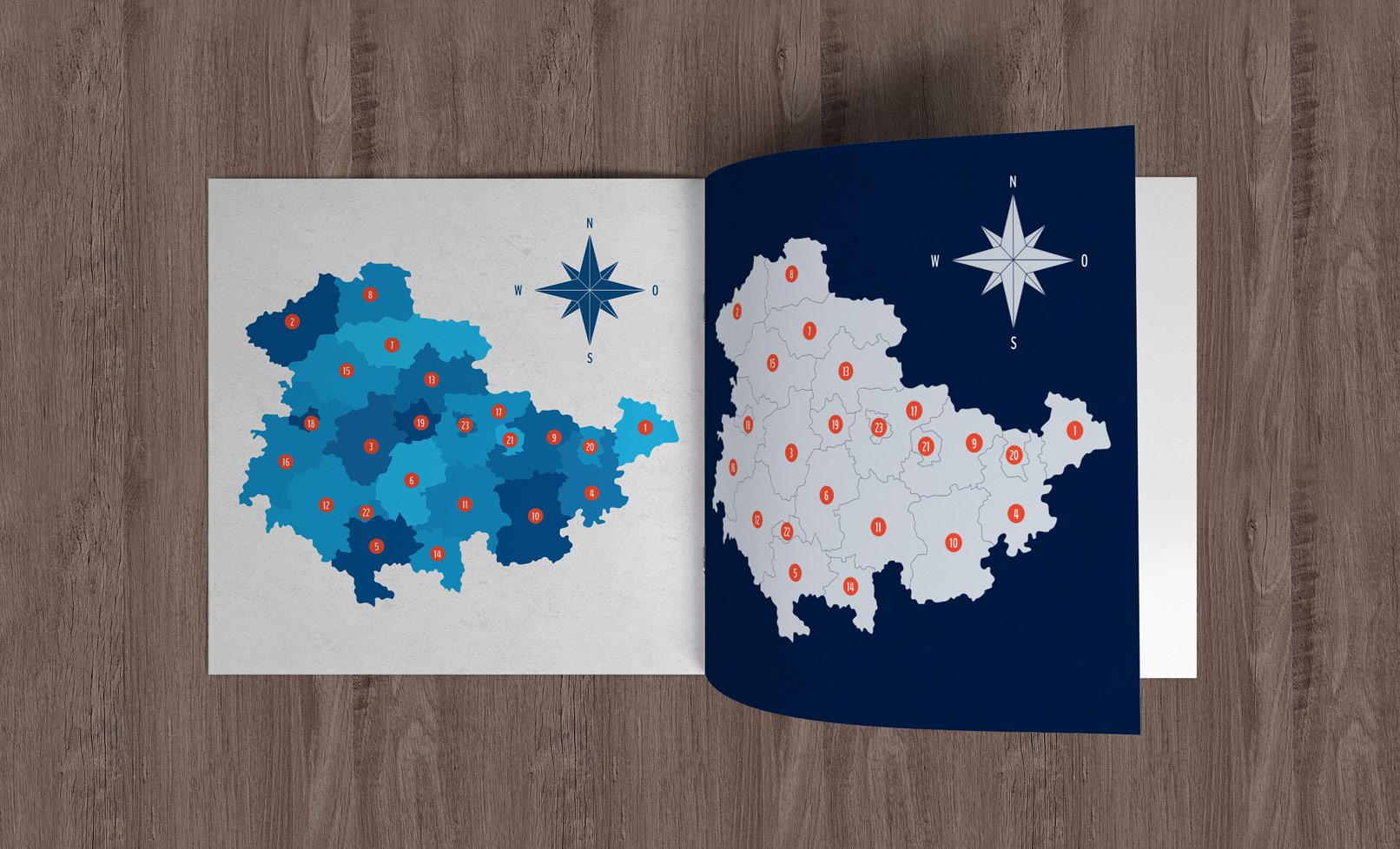 Broschüre mit der Landkarte von Thüringen