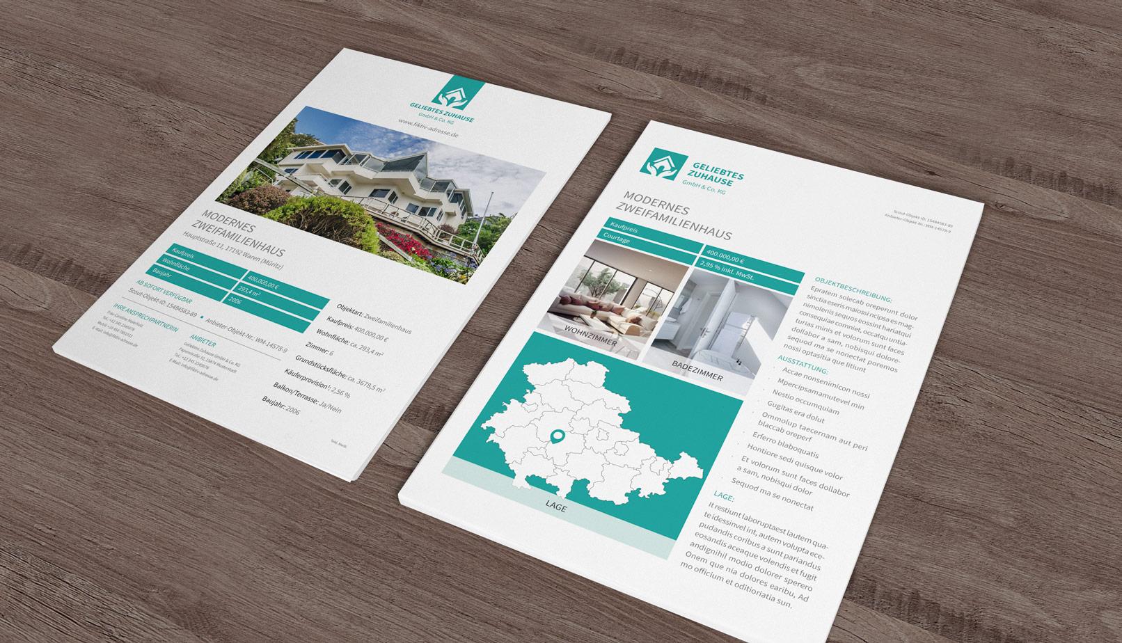 Immobilien-Exposé mit der Landkarte von Thüringen