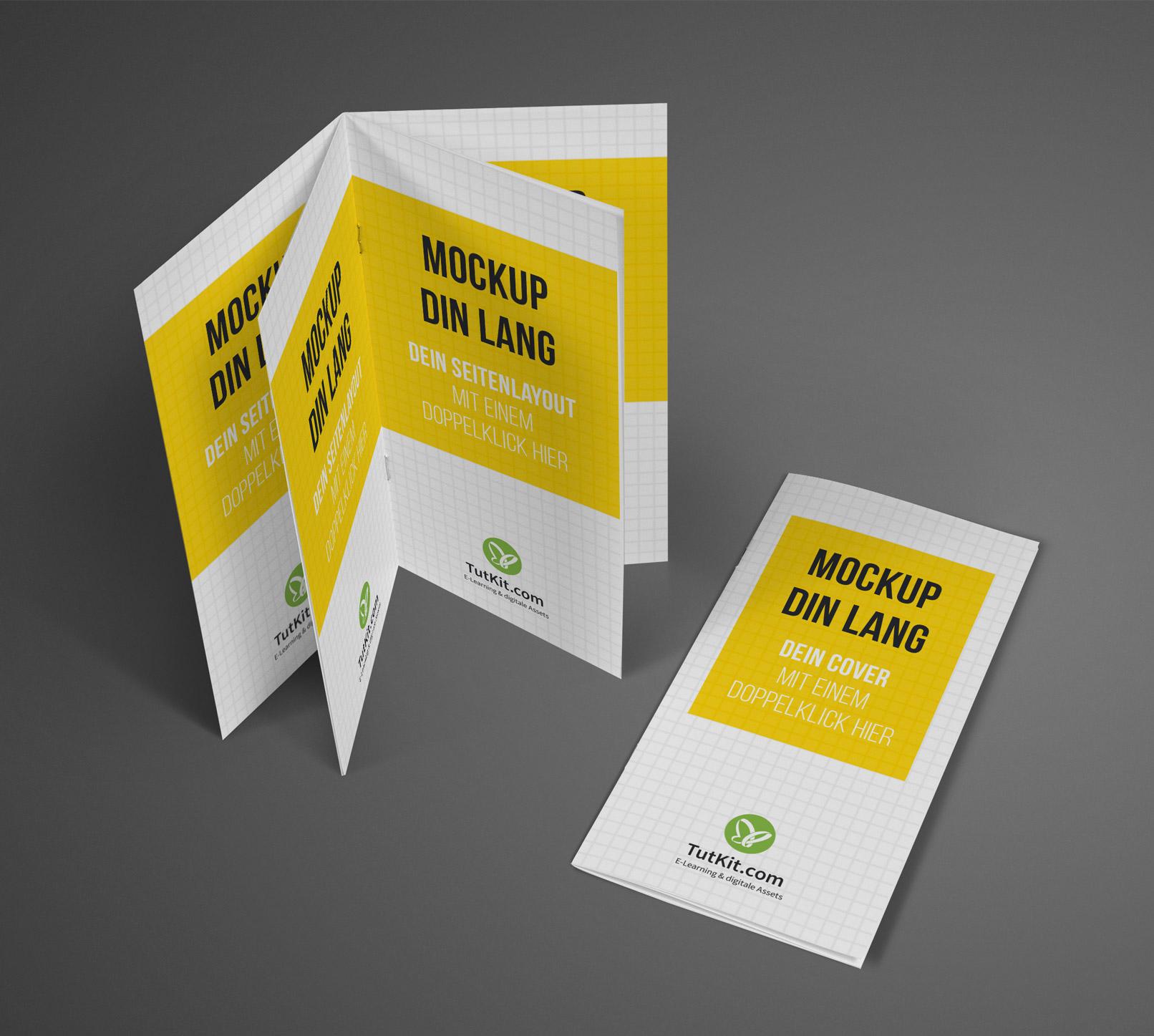 Mockup für Broschüren im DIN-lang-Format