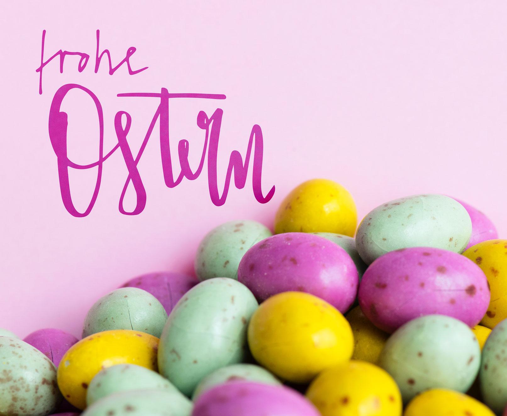 Ostereier, Handlettering Ostern mit Ostergruß