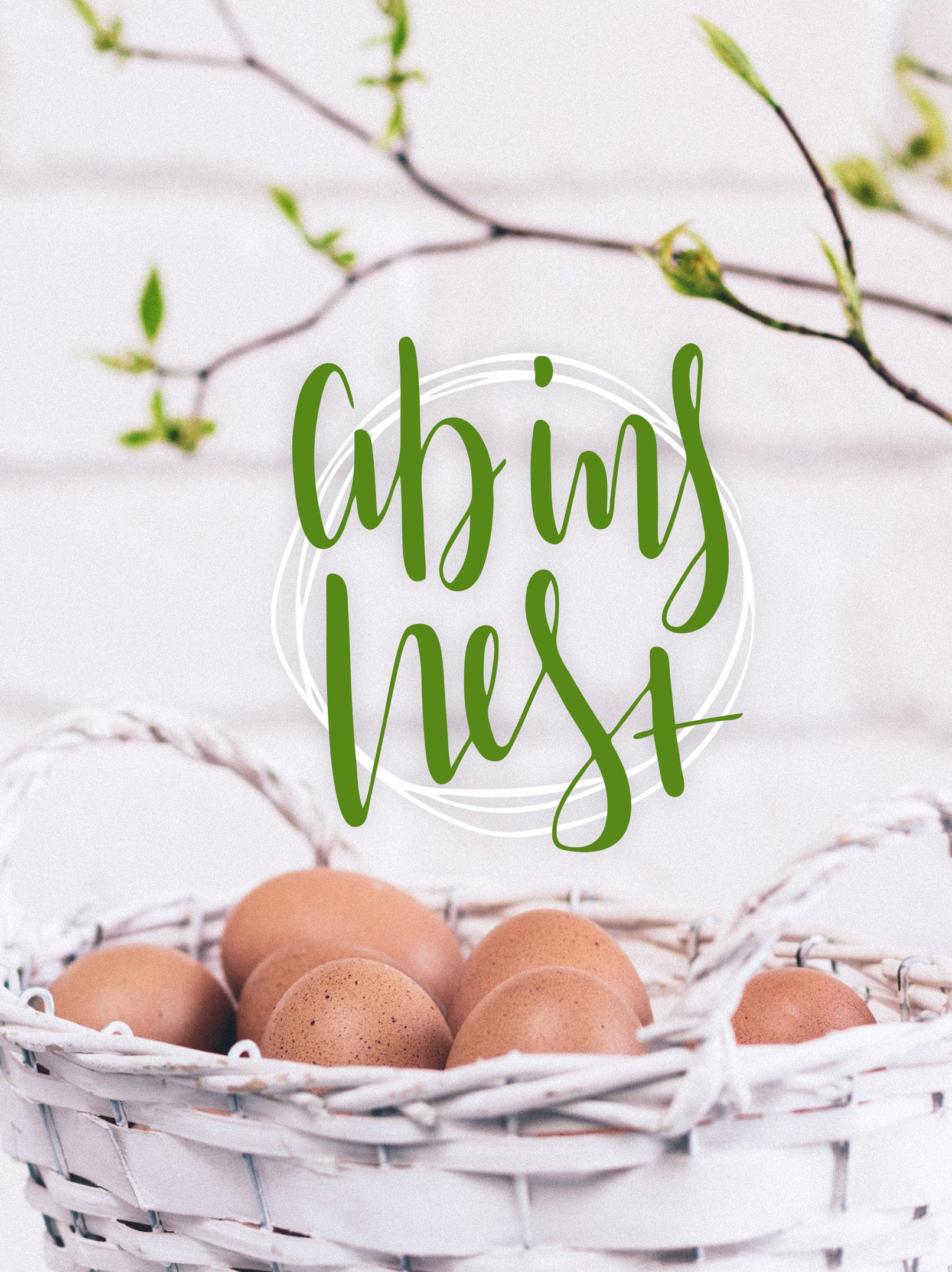 Osternest, Handlettering Ostern mit Ostergruß