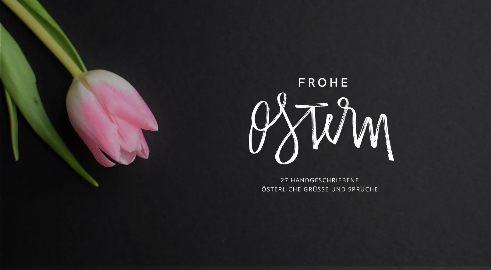 Tulpe, schwarzer Hintergrund, Handlettering Ostern