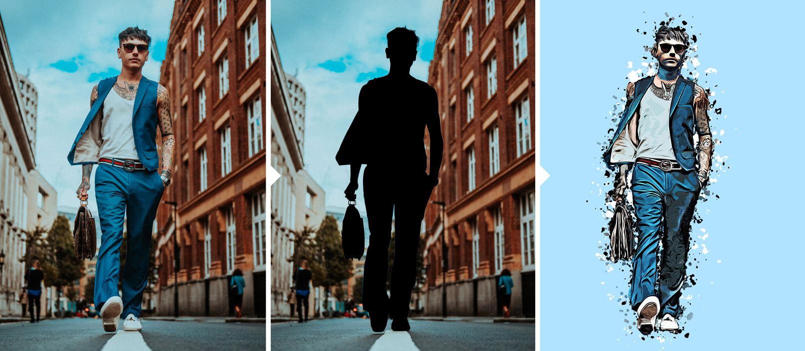 Mann auf Straße, Workflow zur Anwendung der Photoshop-Aktion Cartoon