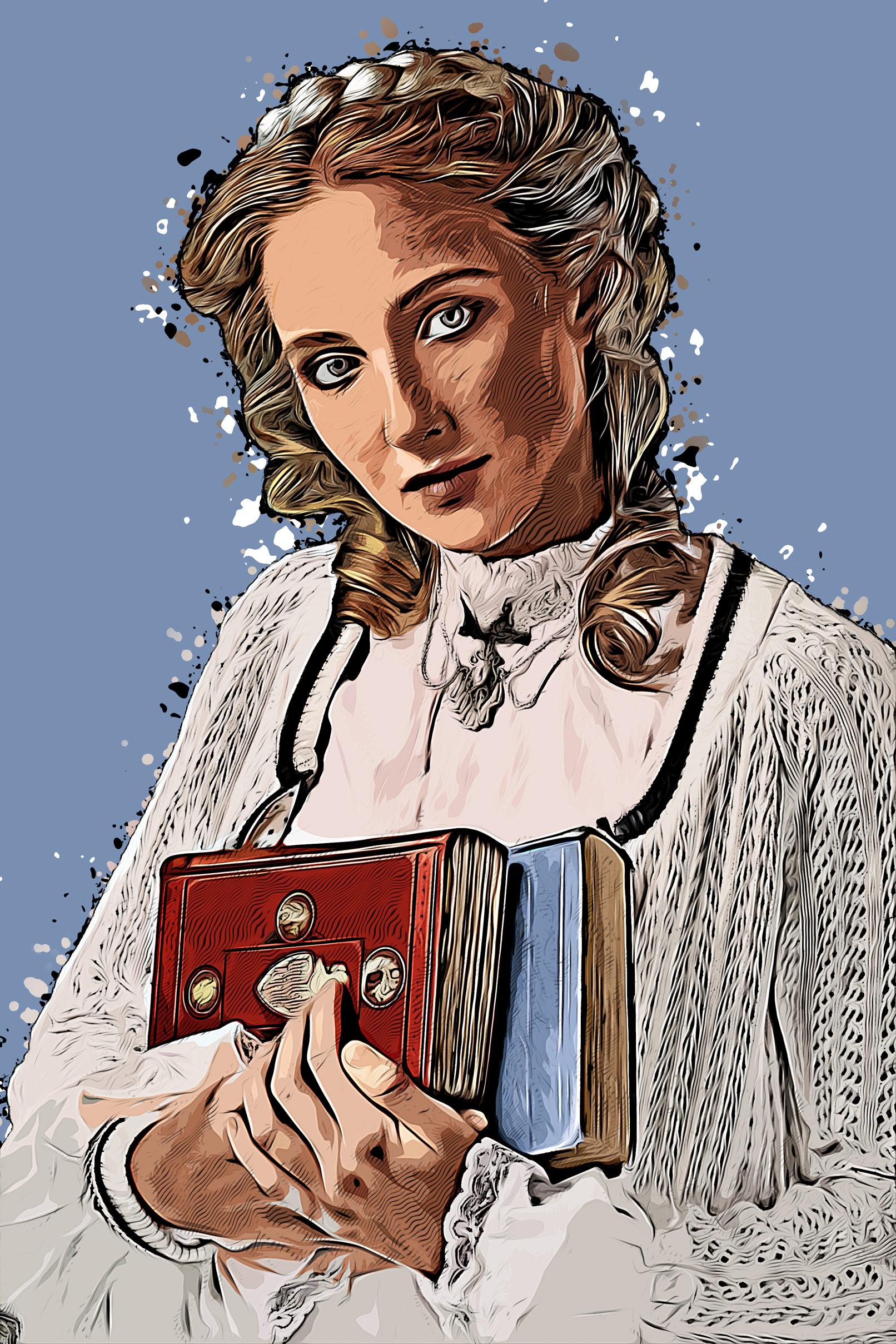 Frau im Cartoon-Ölfarben-Look, erstellt mit Photoshop-Aktion