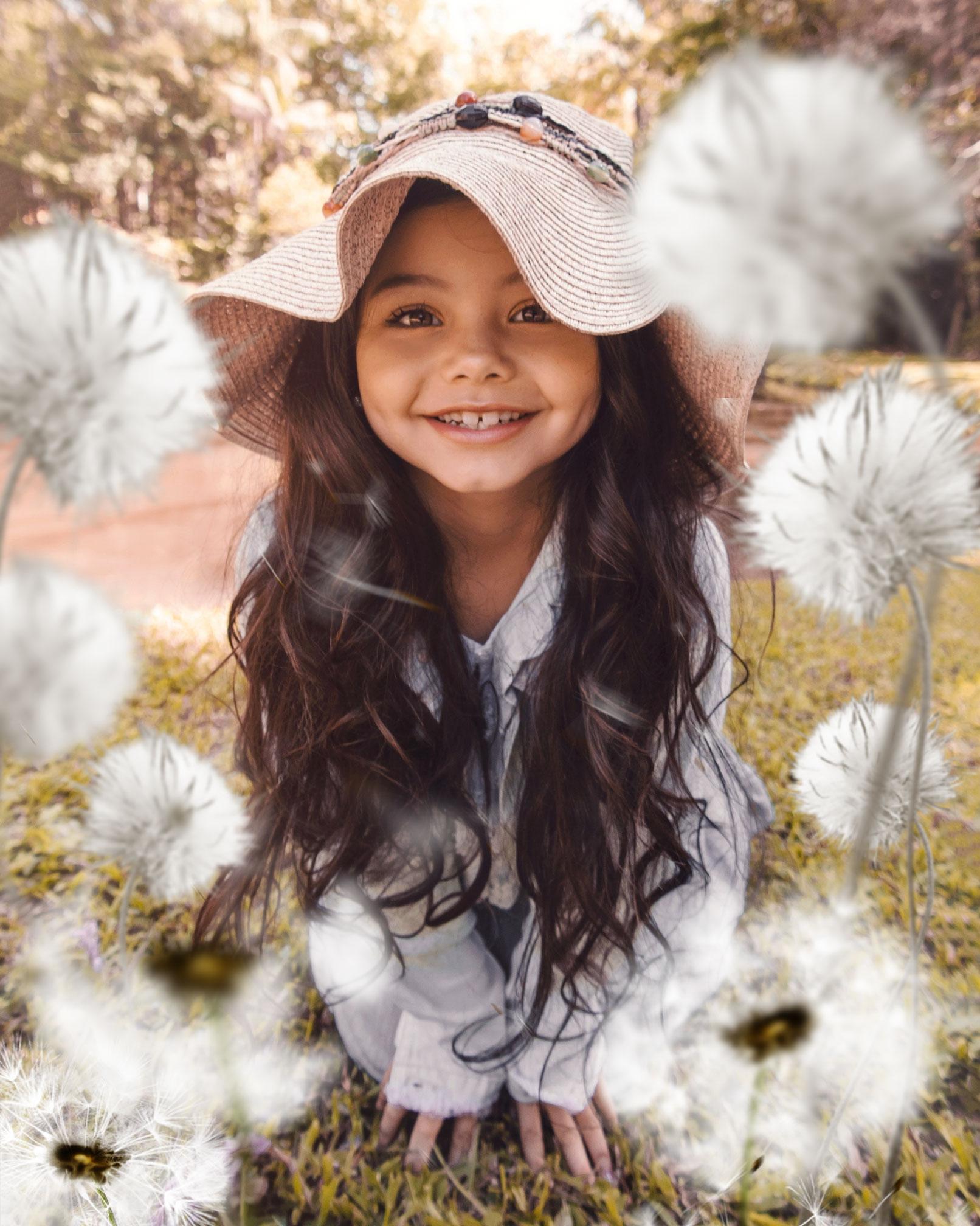 Bilder von Pusteblumen und Löwenzahn als Overlays