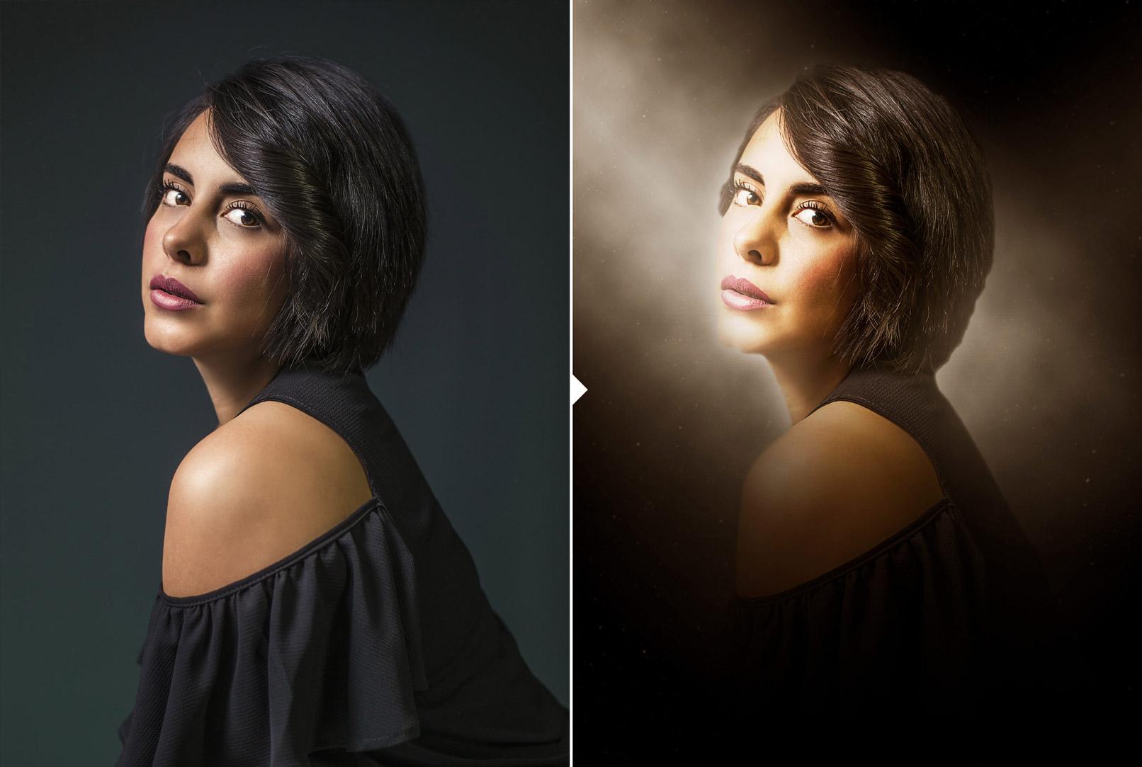Porträt einer Frau in mystischem Licht, erstellt mit einer Photoshop-Aktion