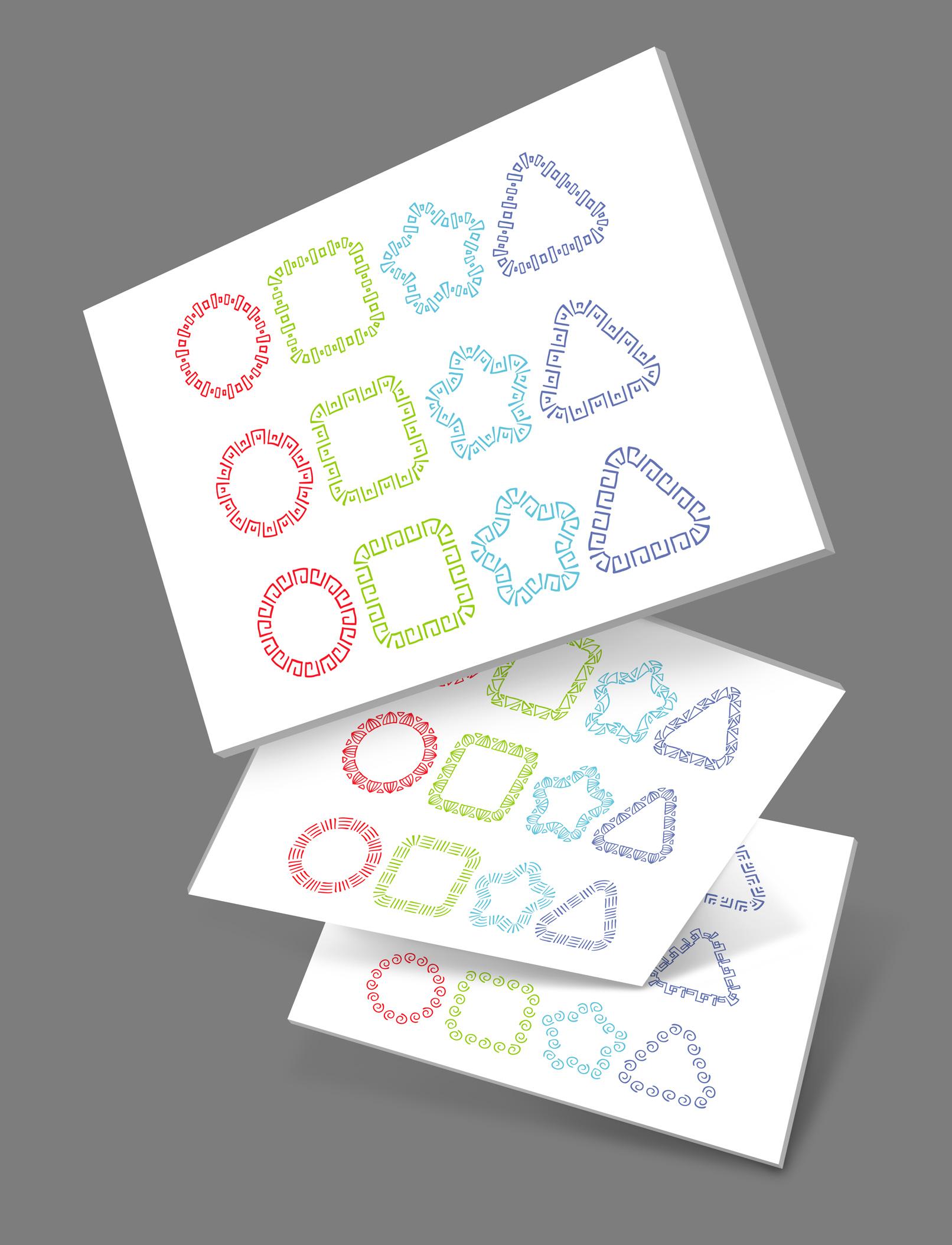 Beispiele zur Anwendung der Adobe Illustrator Brushes mit Ornamenten