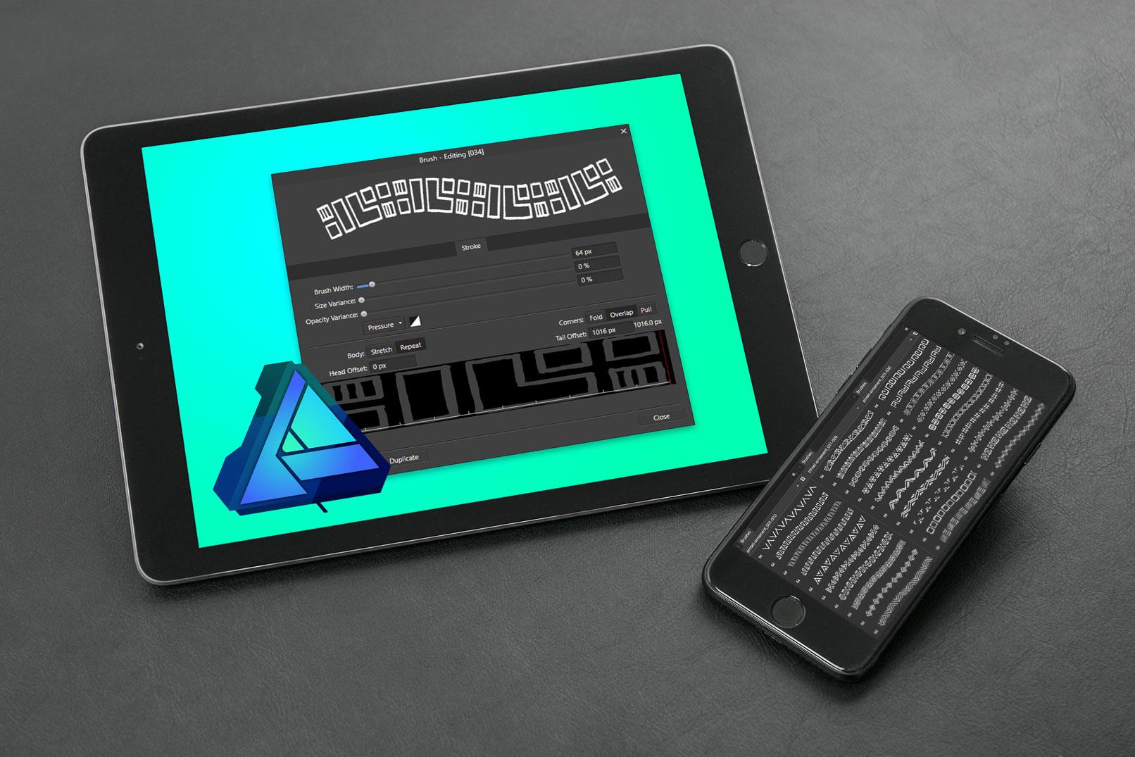 Tablet und Smartphone mit Vorschau auf die Affinity Designer Brushes