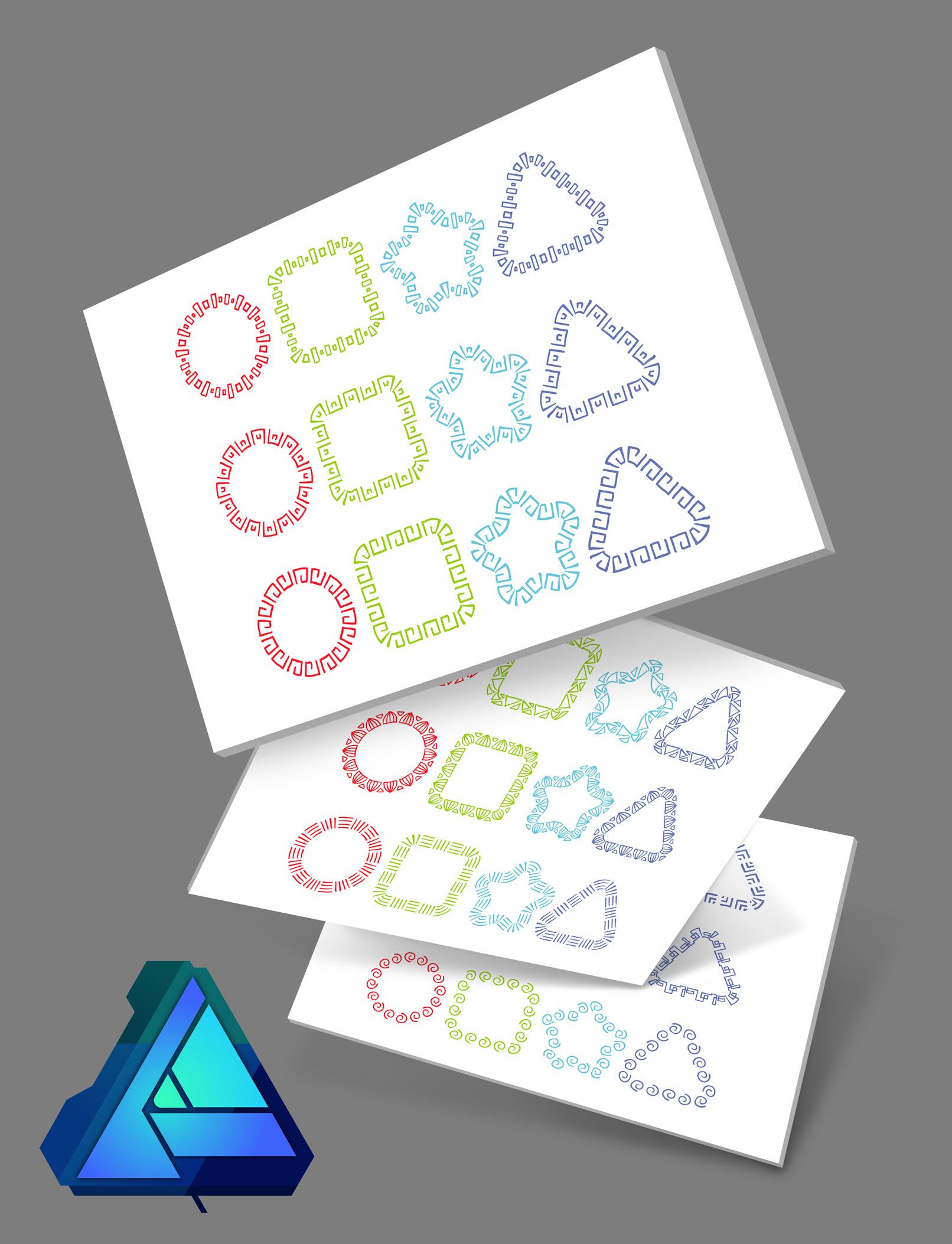 Affinity Designer Brushes mit Ornamenten am Beispiel der Verwendung als Kontur