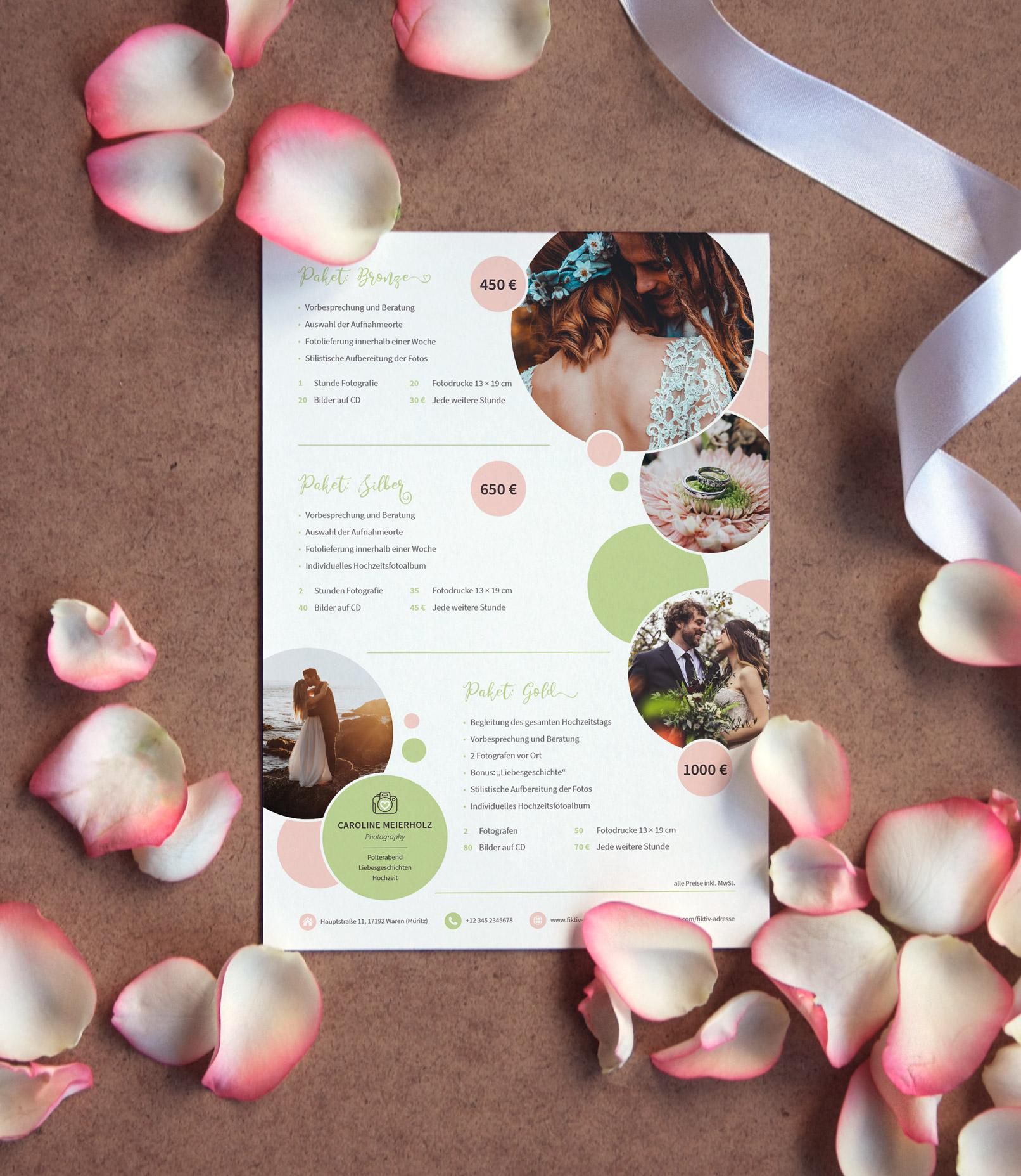 Preislisten-Vorlage für Fotografen (Hochzeitsfotografie) zur Bearbeitung in Photoshop, InDesign und Word