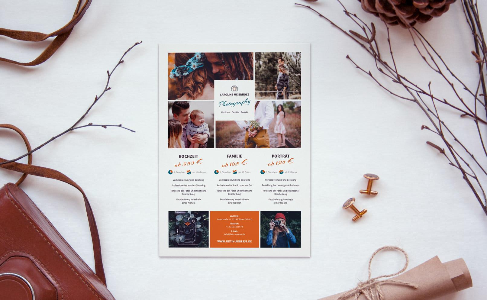 Preislisten-Vorlage für Fotografen (Fachfotografie) zur Bearbeitung in Photoshop, InDesign und Word