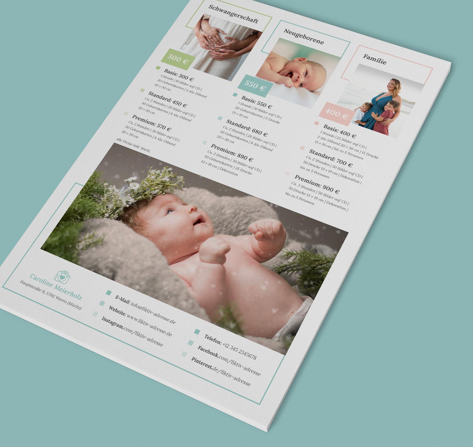 Preislisten-Vorlage für Fotografen (Babyfotografie) zur Bearbeitung in Photoshop, InDesign und Word