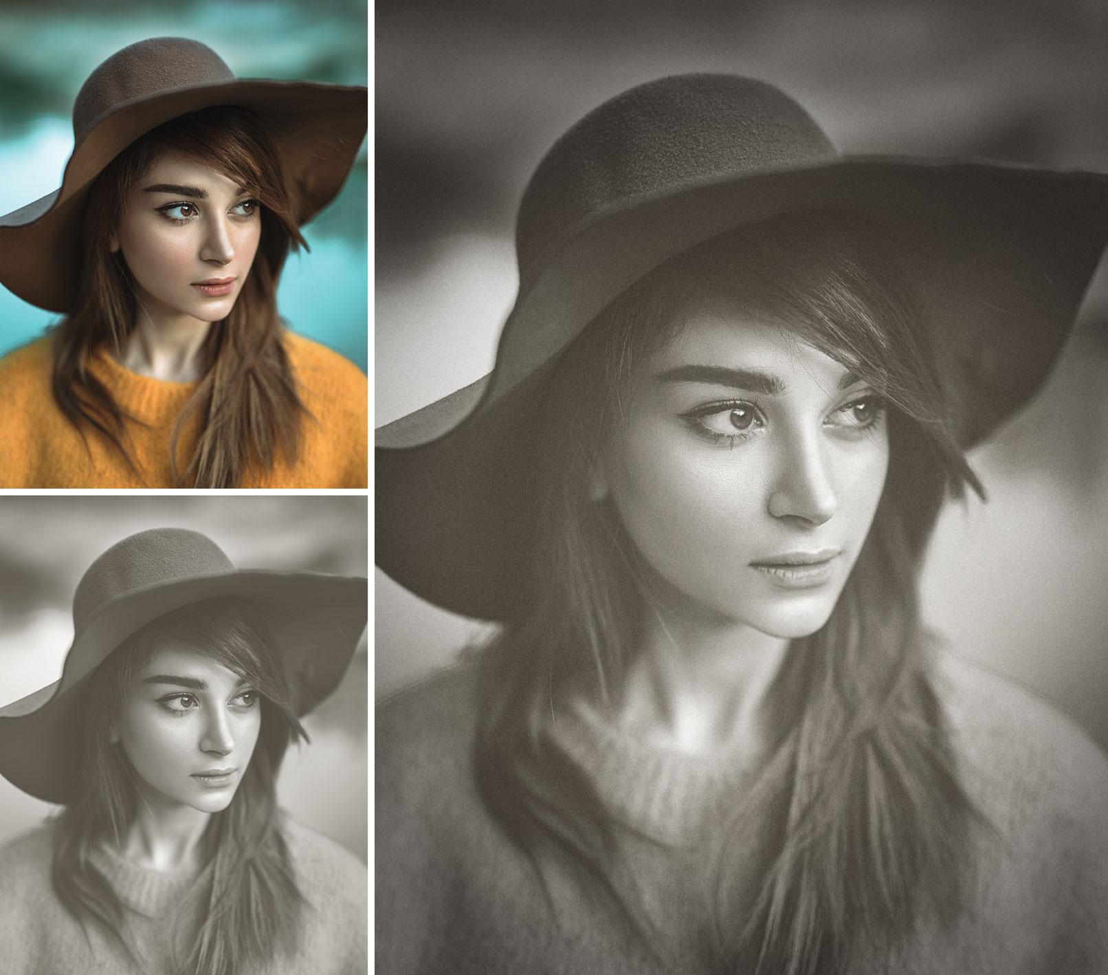 Anwendung von Affinity Photo Makros zur Schwarz-Weiß-Umwandlung am Beispiel eines Frauen-Porträts