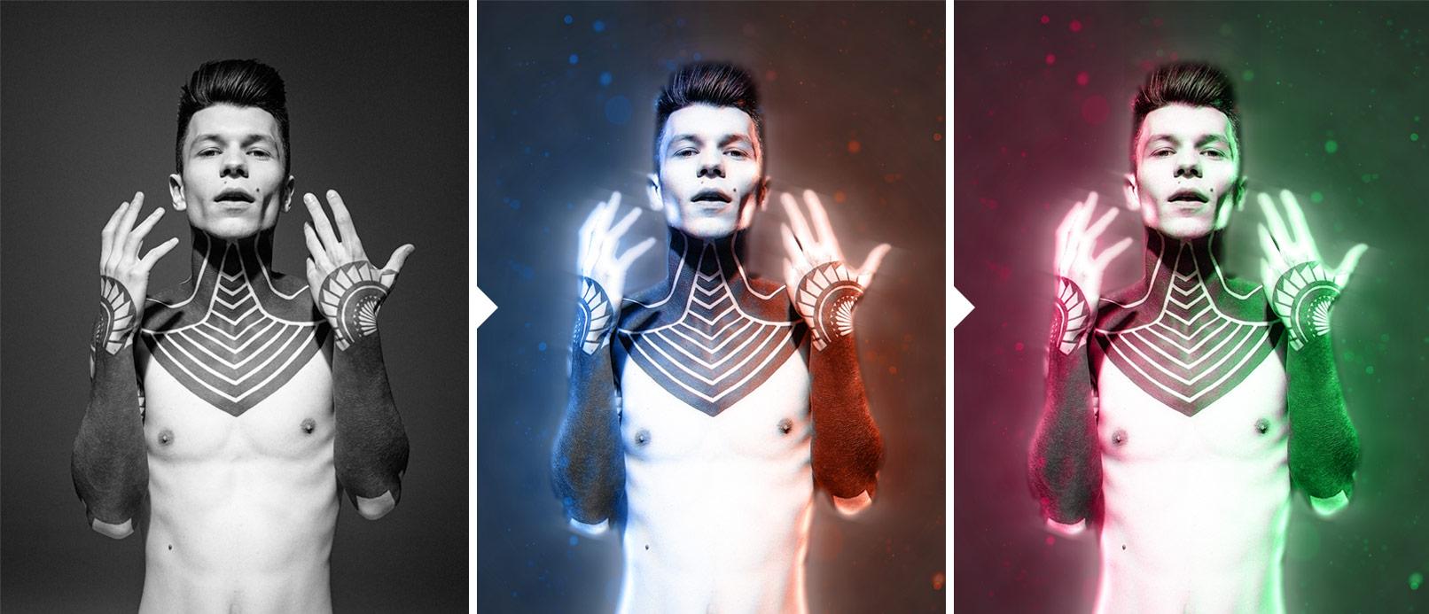 Porträt eines Mannes, Doppelbeleuchtungseffekt mithilfe einer Photoshop-Aktion aufgelegt