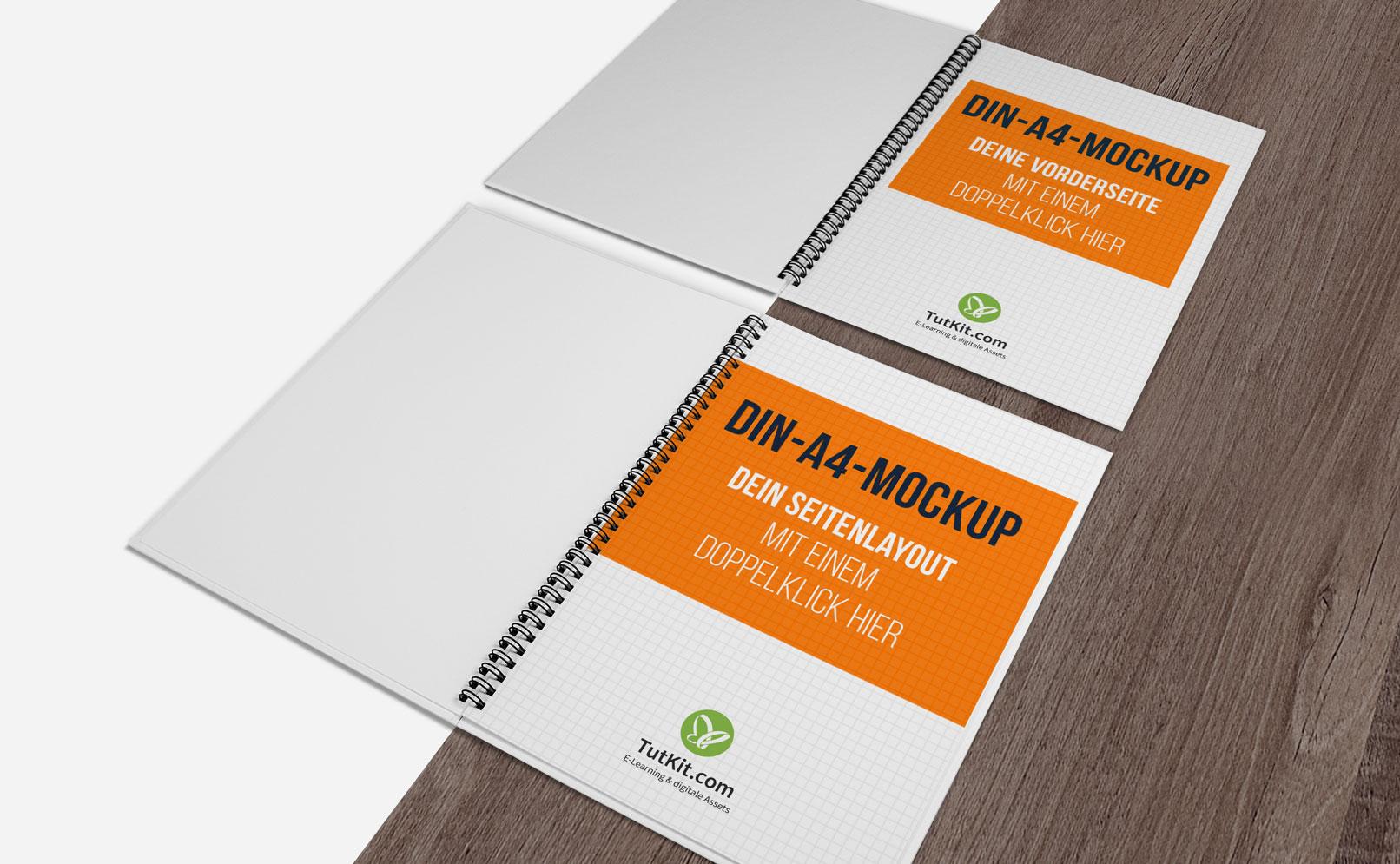 Mockup für Hochformat-Hardcover-Broschüren mit Spiralbindung